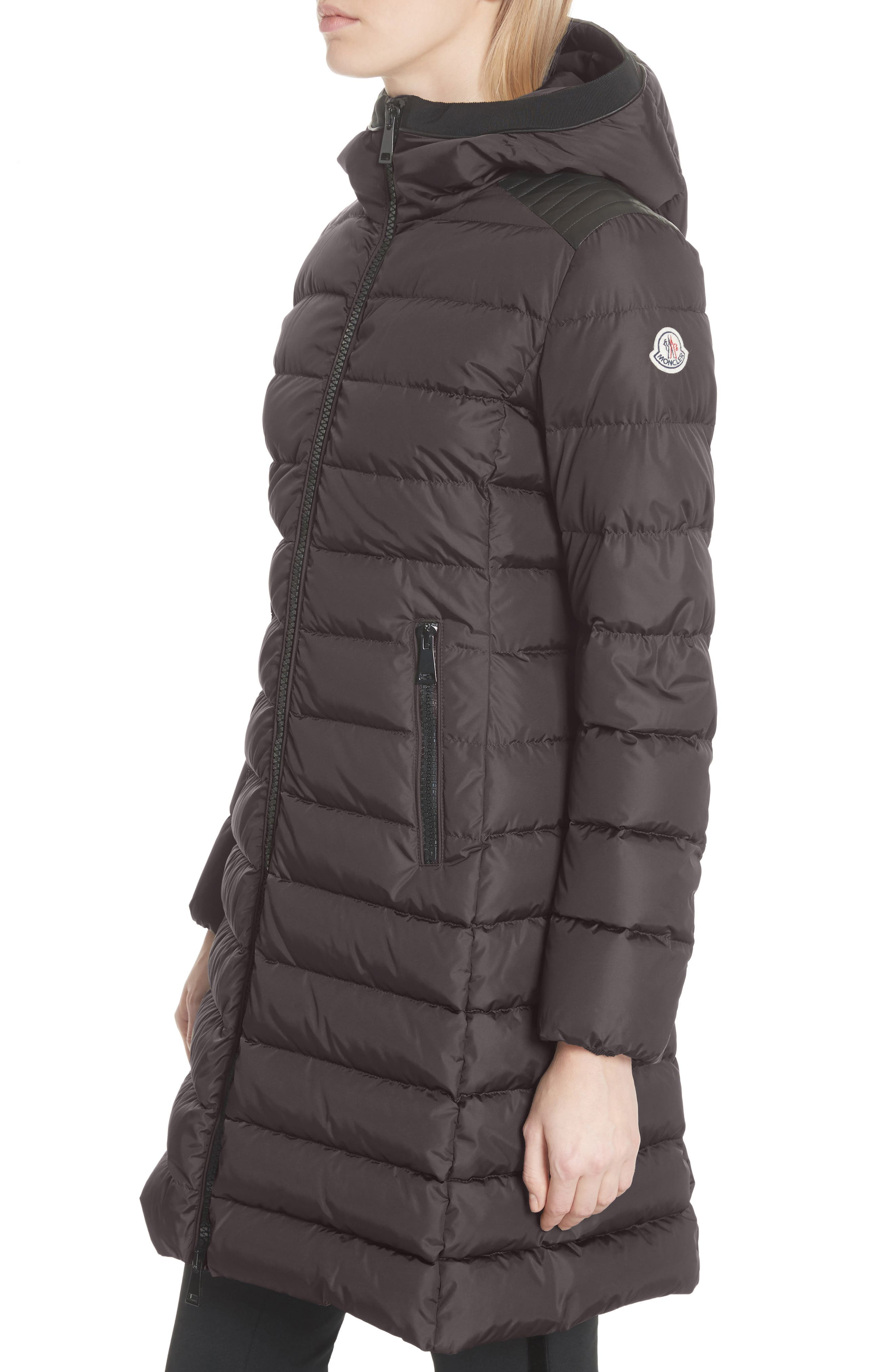 Taleve Hooded Quilted Down Coat,                             Alternate thumbnail 4, color,                             GREY