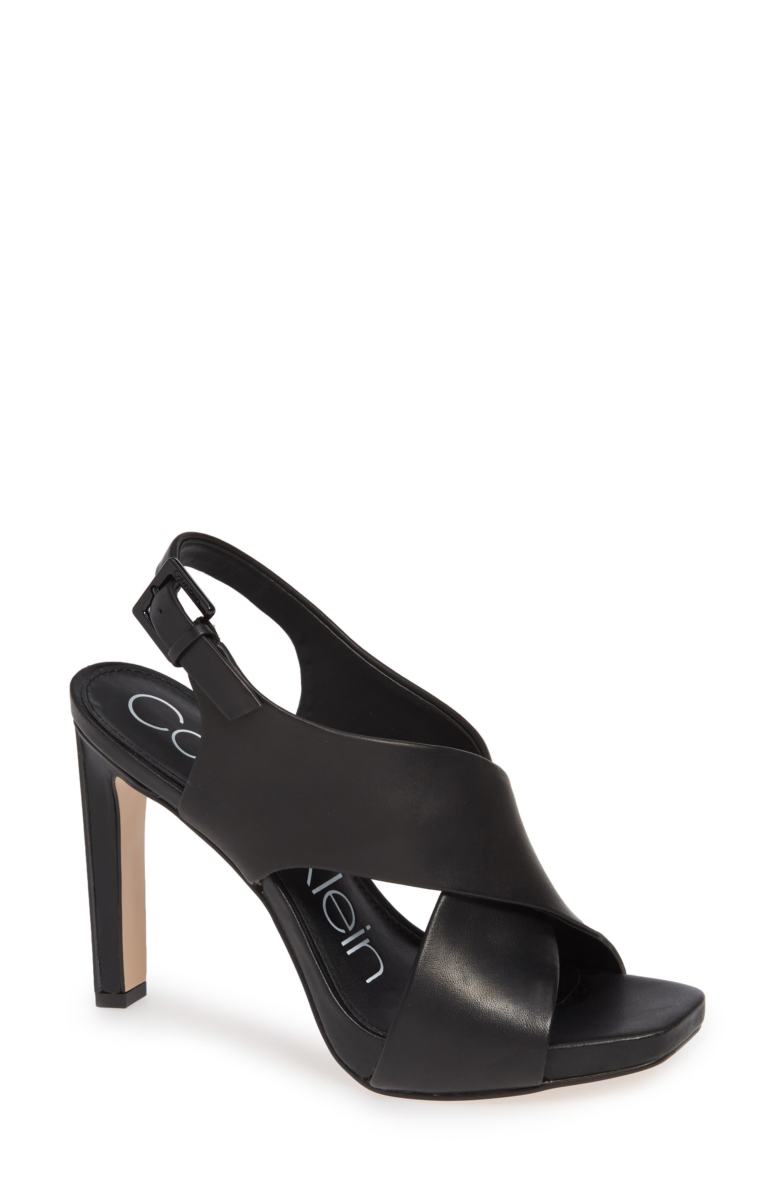 Myra Cross Strap Sandal,                             Main thumbnail 1, color,                             BLACK LEATHER