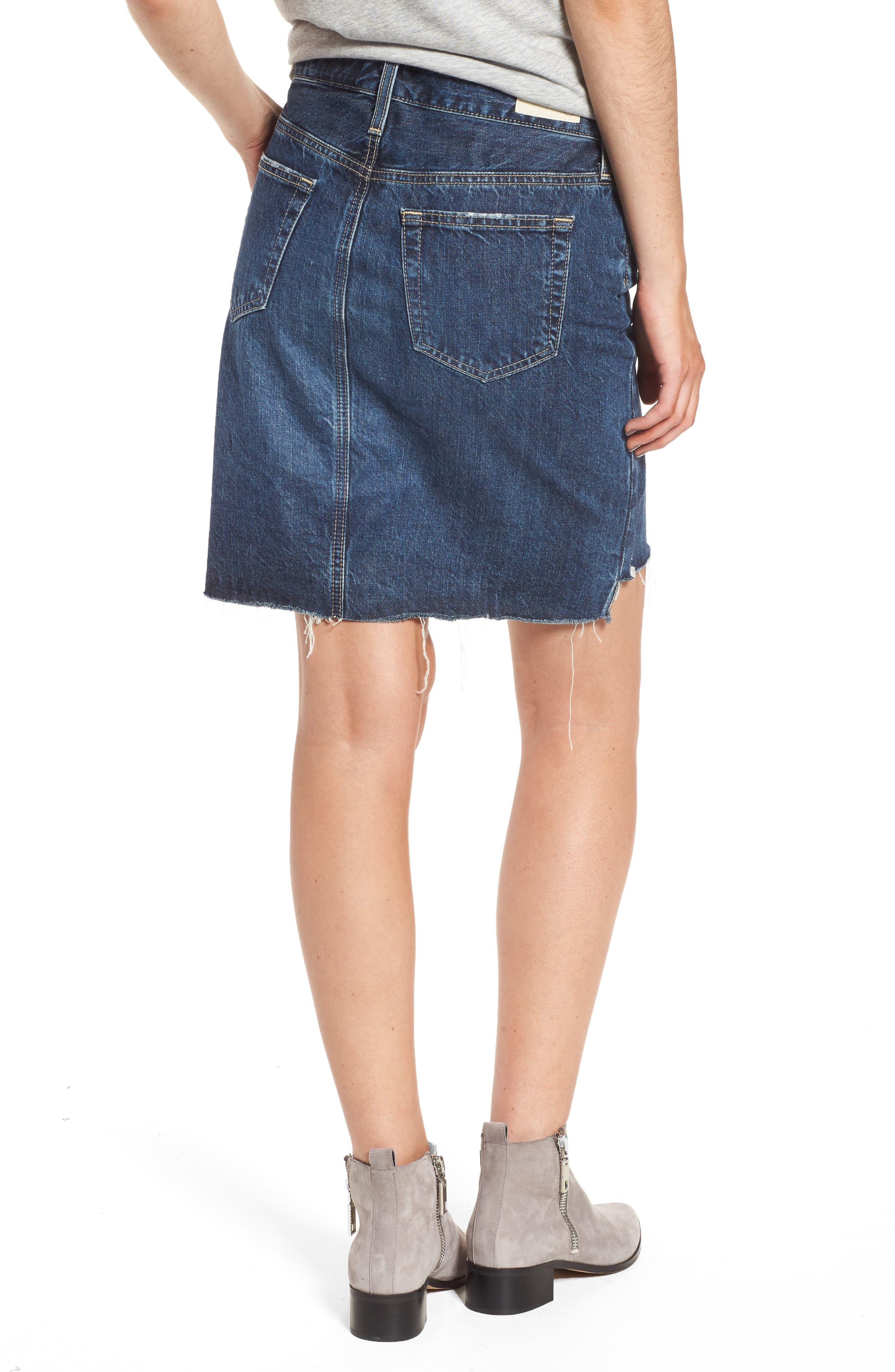 Erin Step Hem Denim Skirt,                             Alternate thumbnail 2, color,                             404