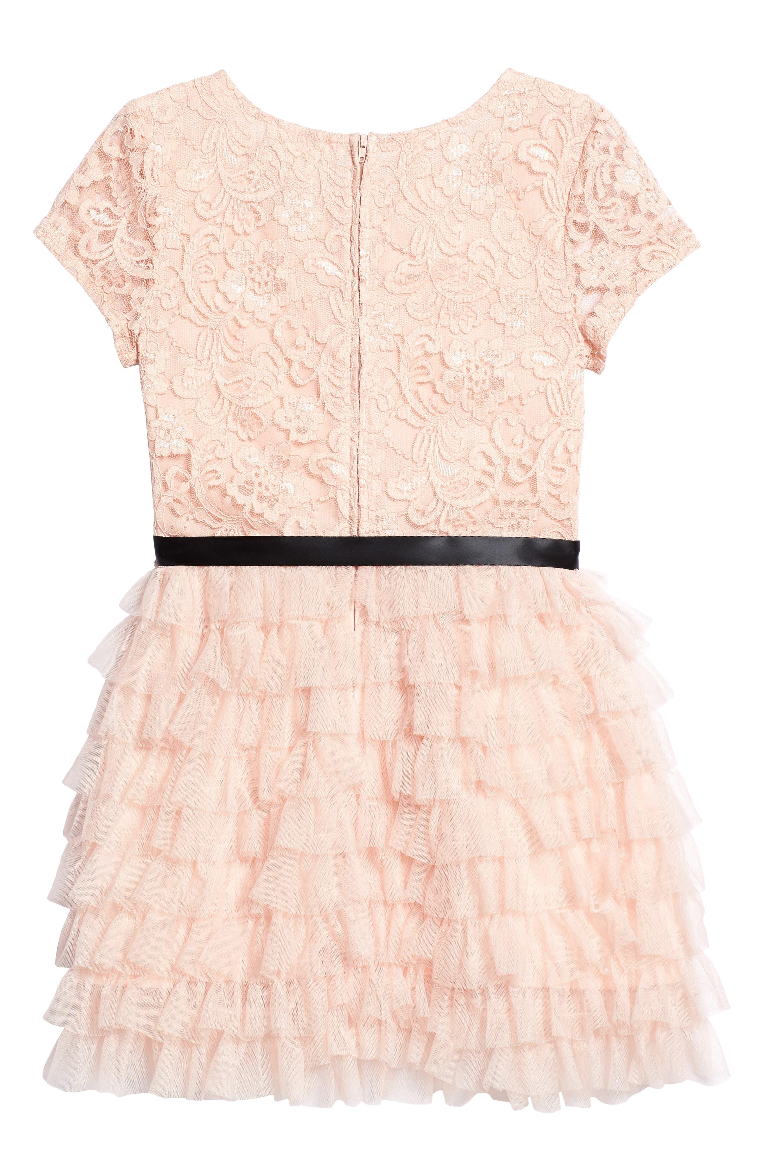 Audrey Lace & Ruffle Party Dress,                             Alternate thumbnail 2, color,