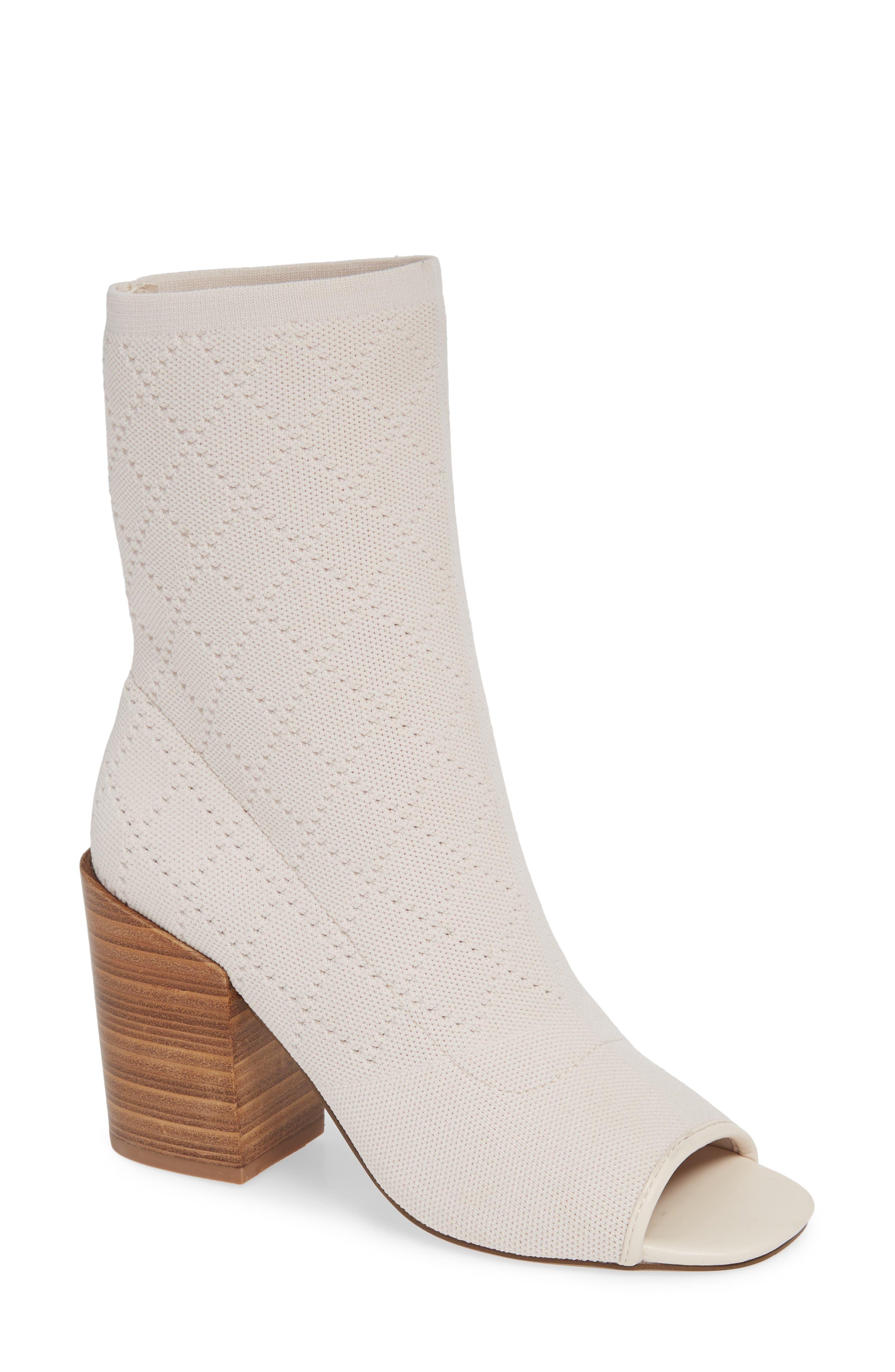Kelsi Dagger Brooklyn Macey Knit Peep Toe Bootie, White