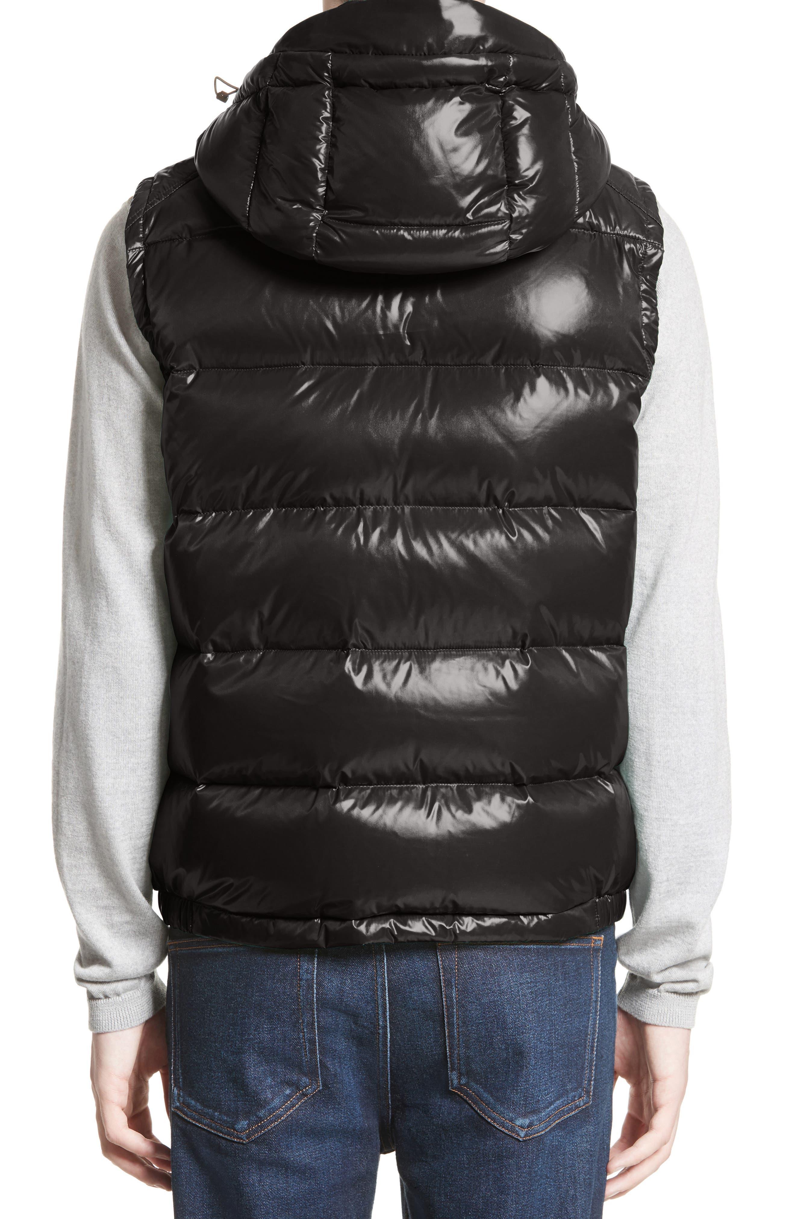 Lacet Lacquered Hooded Down Vest,                             Alternate thumbnail 2, color,                             BLACK