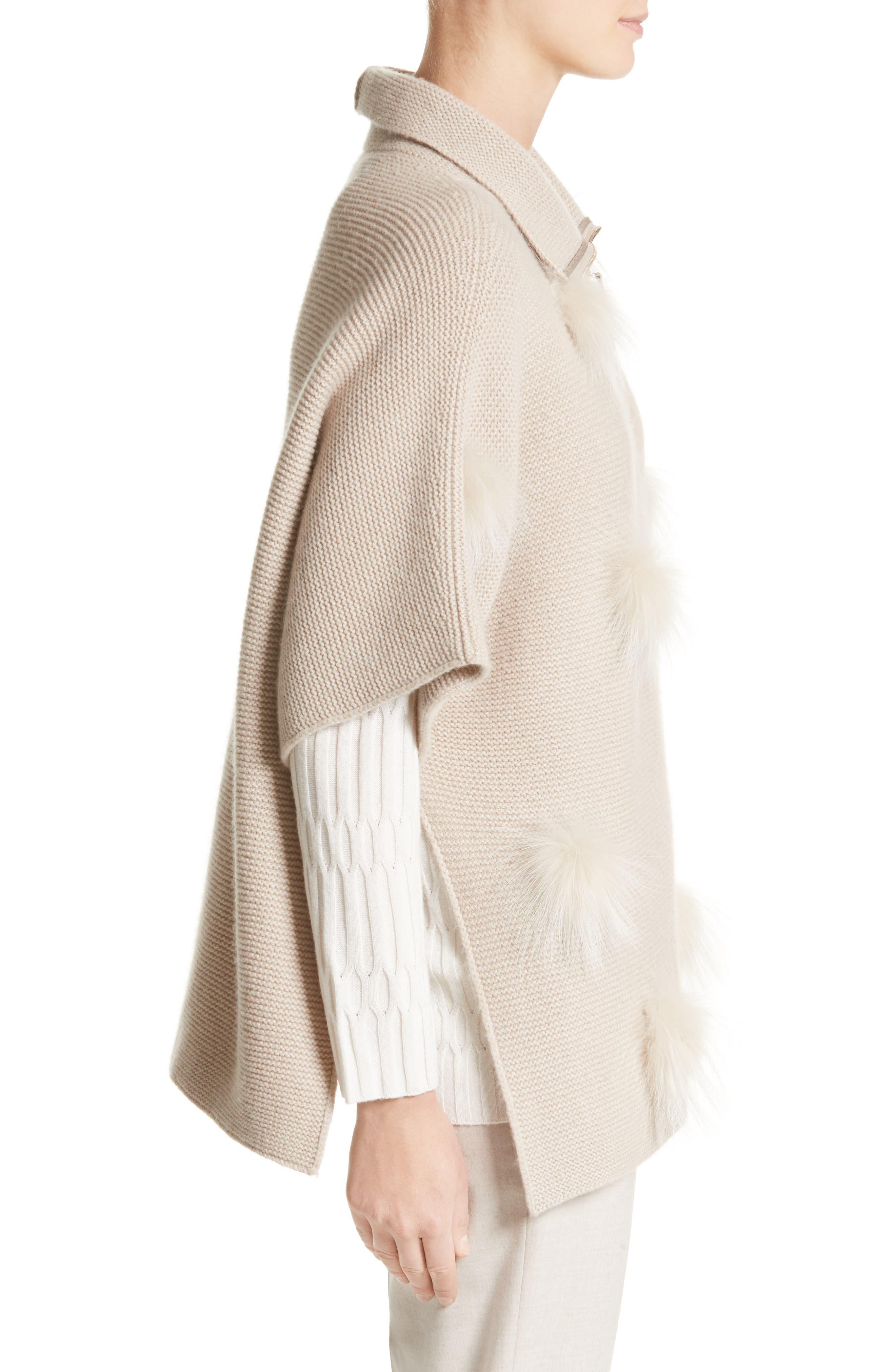 Micro Braid Cashmere Zip Cardigan with Genuine Fox Fur Trim,                             Alternate thumbnail 3, color,                             101