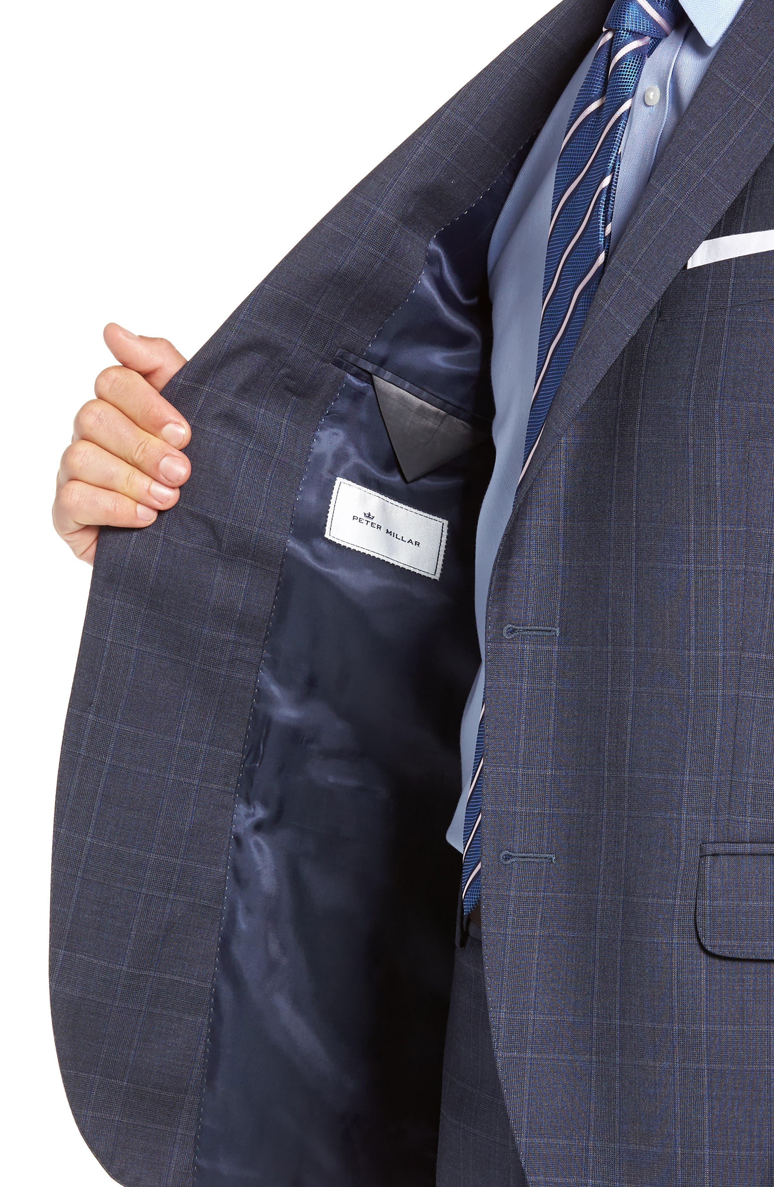 Flynn Classic Fit Plaid Wool Suit,                             Alternate thumbnail 4, color,                             BLUE