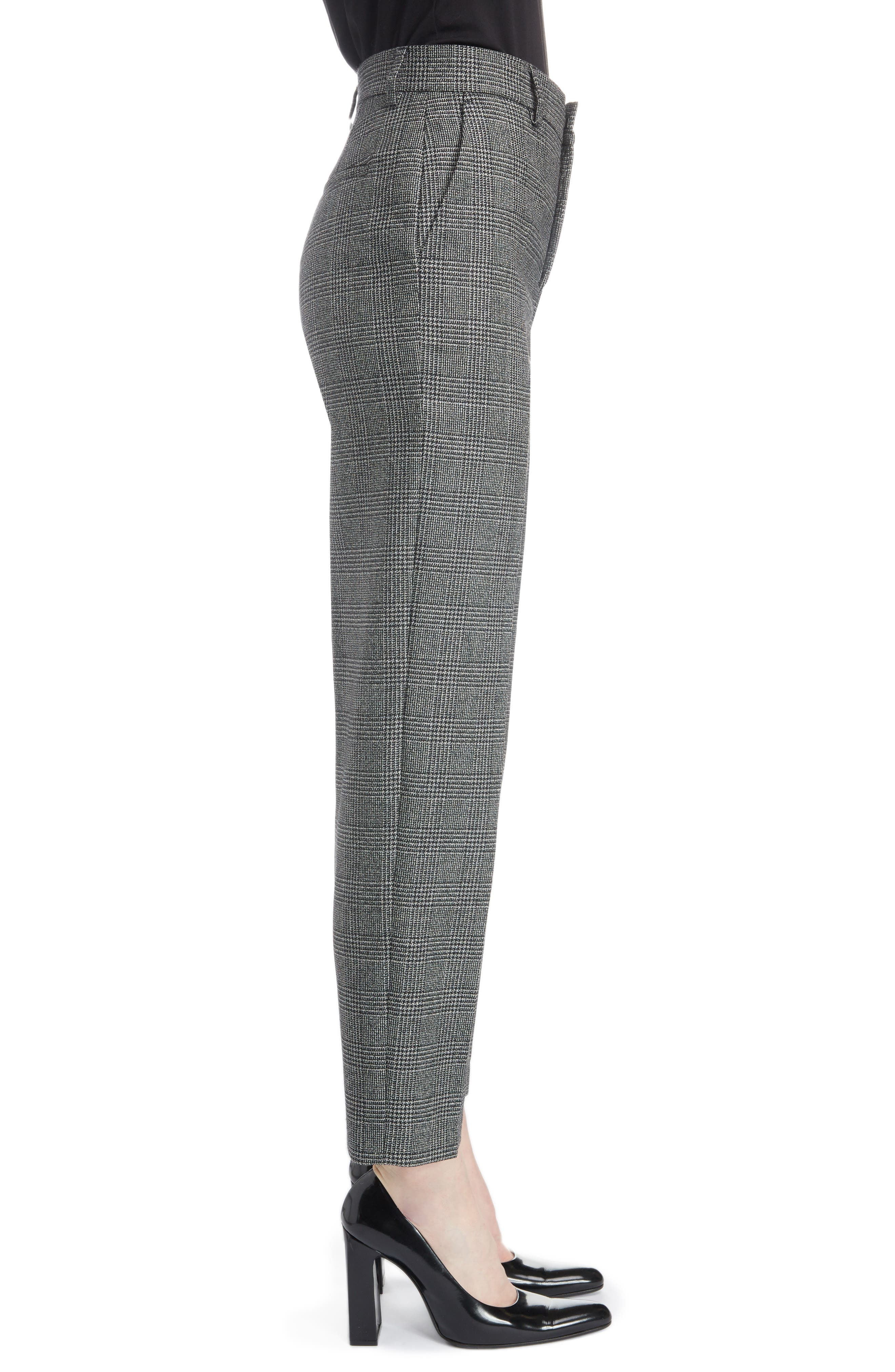Prince of Wales Wool Carrot Trousers,                             Alternate thumbnail 3, color,                             1070-BLACK/ WHITE