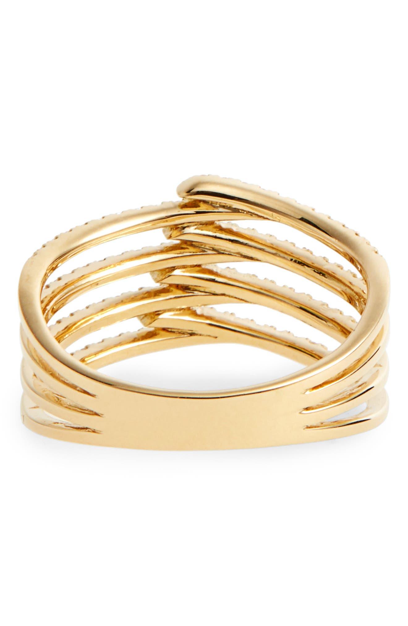 Kiera Four-Row Diamond Ring,                             Alternate thumbnail 4, color,                             YELLOW GOLD