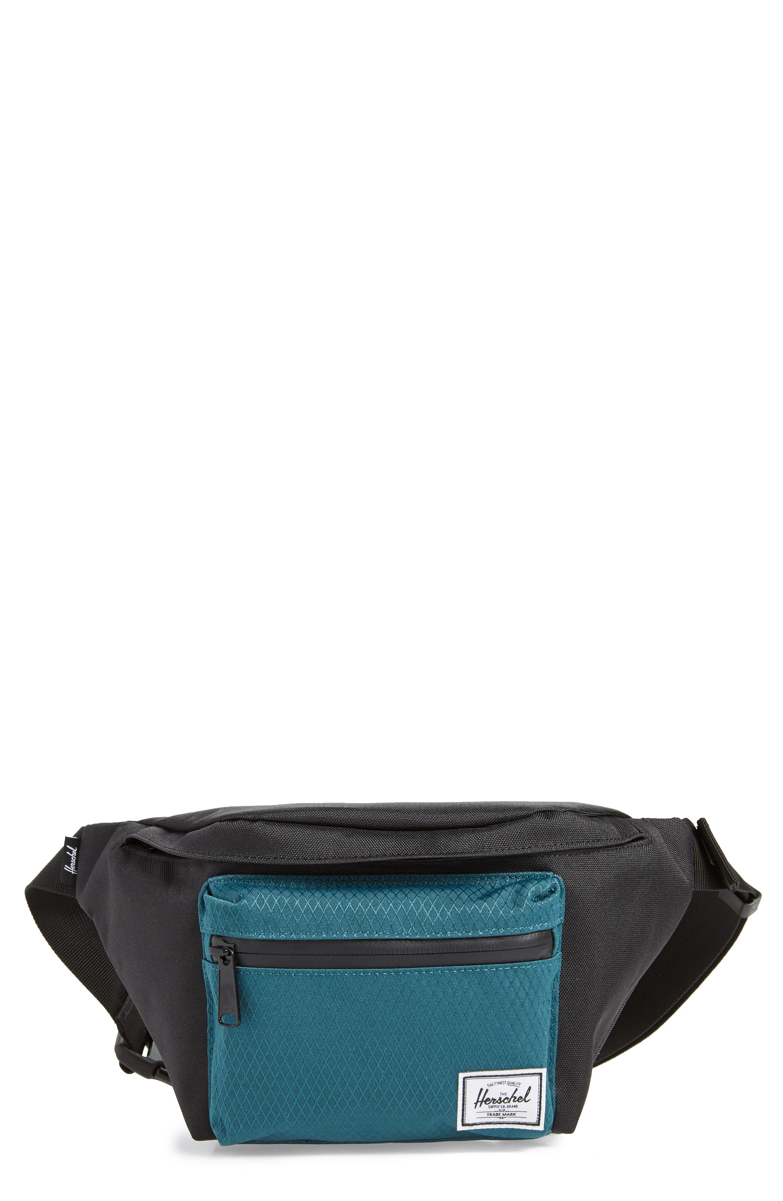 'Seventeen' Belt Bag,                             Main thumbnail 1, color,                             BLACK/ DEEP TEAL