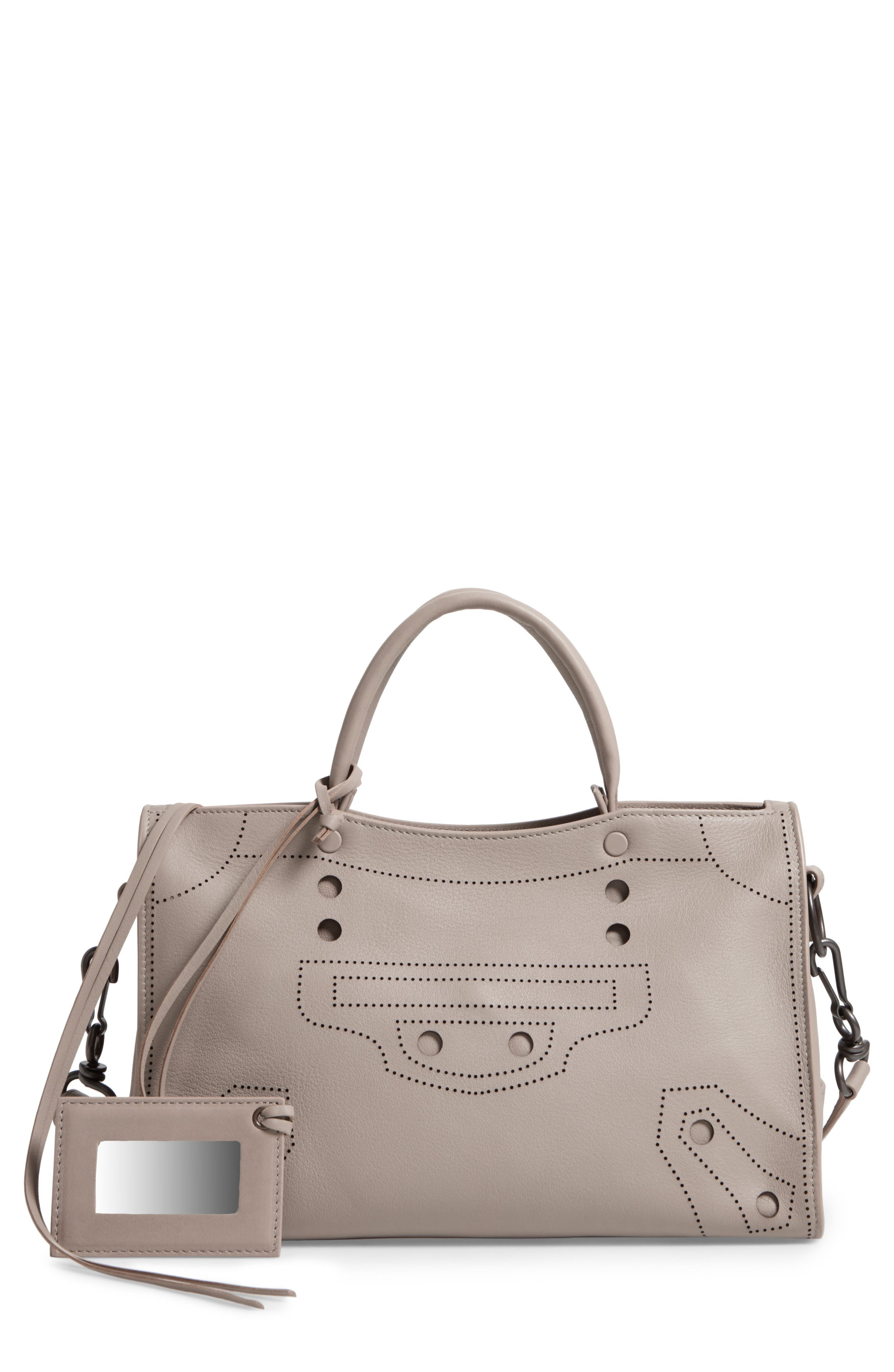 Small Blackout City Leather Tote,                             Main thumbnail 1, color,                             025