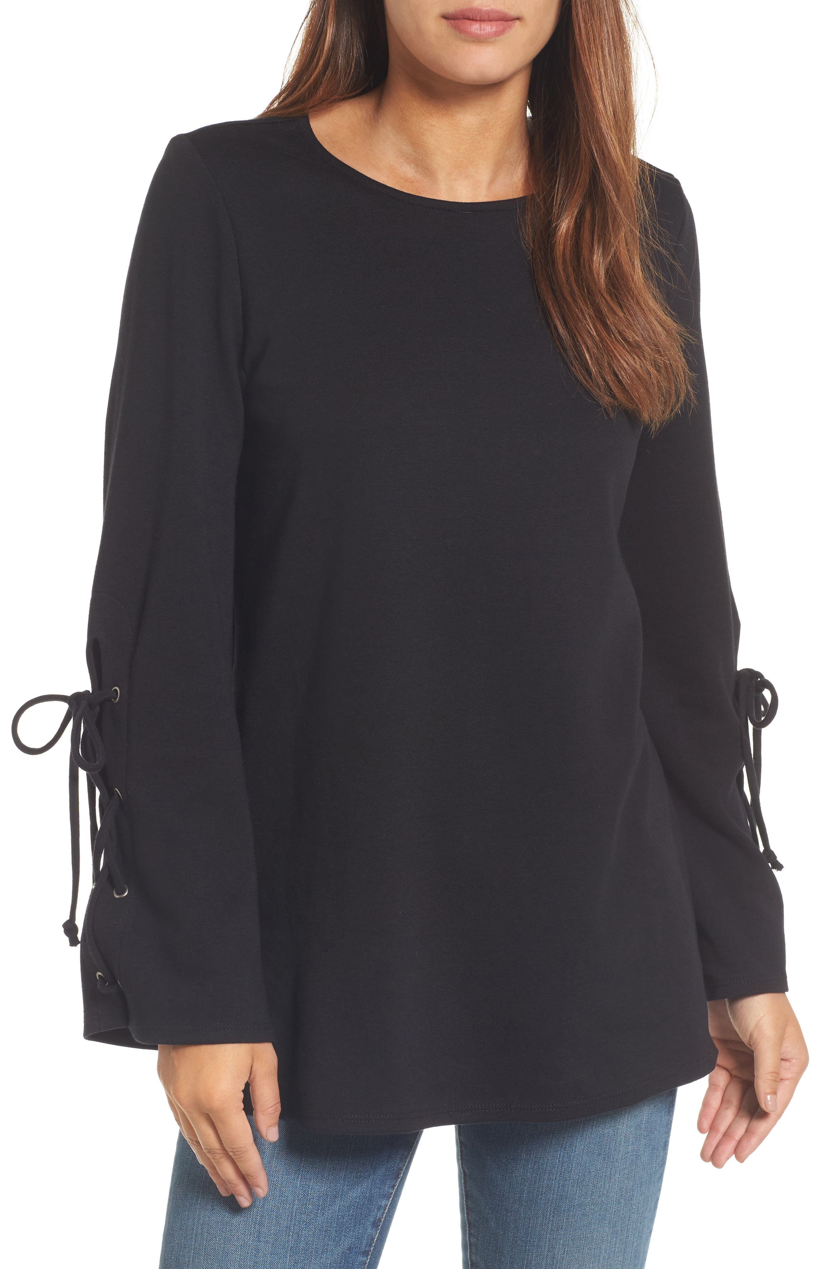 Terry Tie Sleeve Tunic,                             Main thumbnail 1, color,                             001