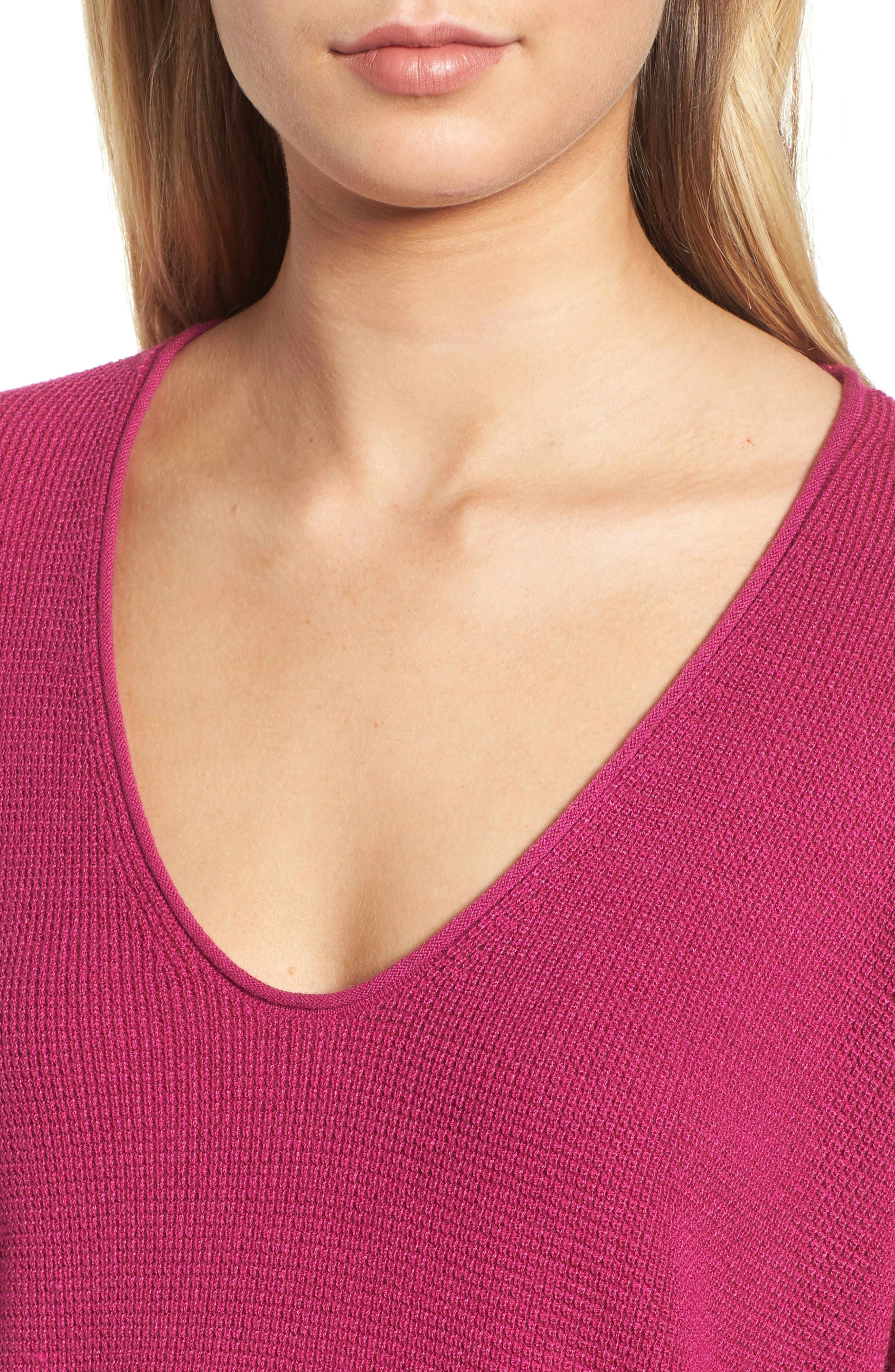 Textured Stitch V-Neck Pullover,                             Alternate thumbnail 4, color,                             651