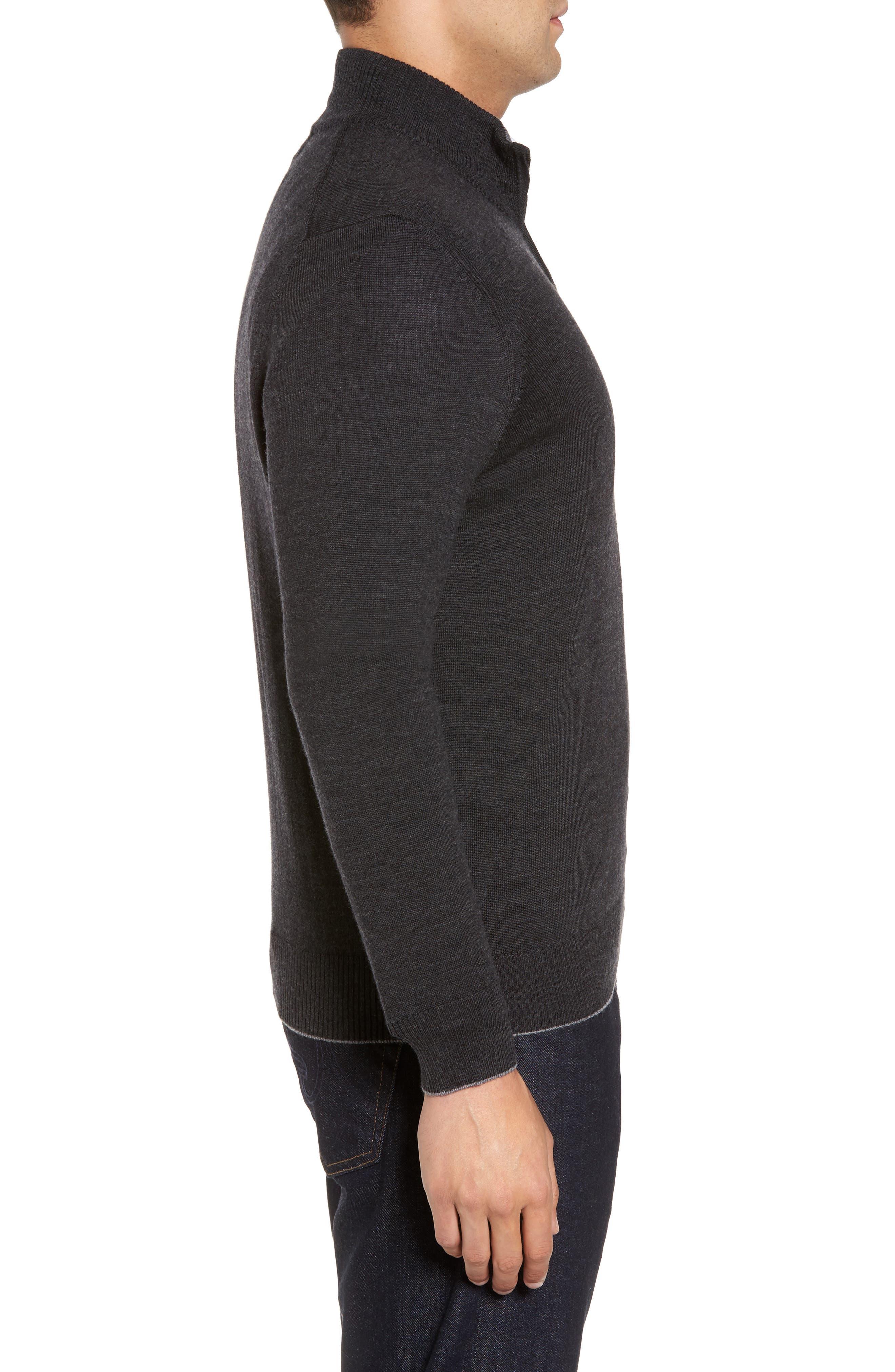 THOMAS DEAN,                             Merino Wool Blend Quarter Zip Sweater,                             Alternate thumbnail 3, color,                             020