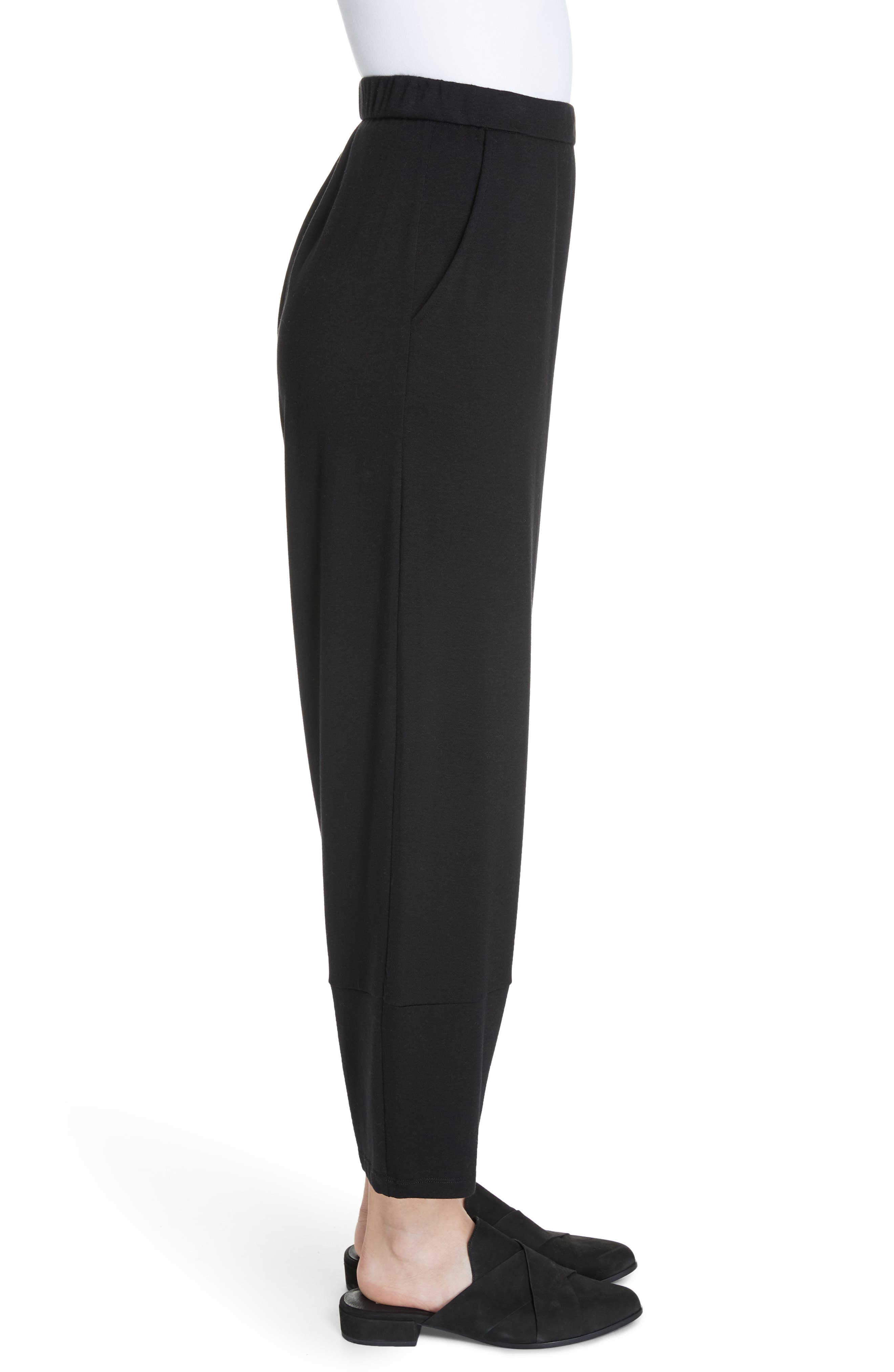 Terry Lantern High Rise Ankle Pants,                             Alternate thumbnail 4, color,                             BLACK