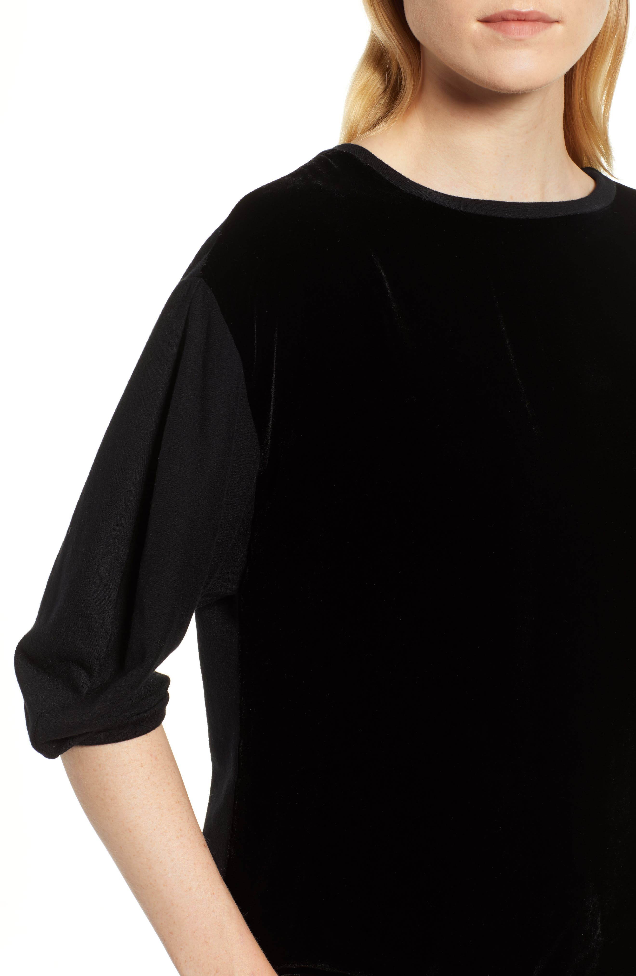 Velvet & Fleece Half Sleeve Top,                             Alternate thumbnail 4, color,                             BLACK