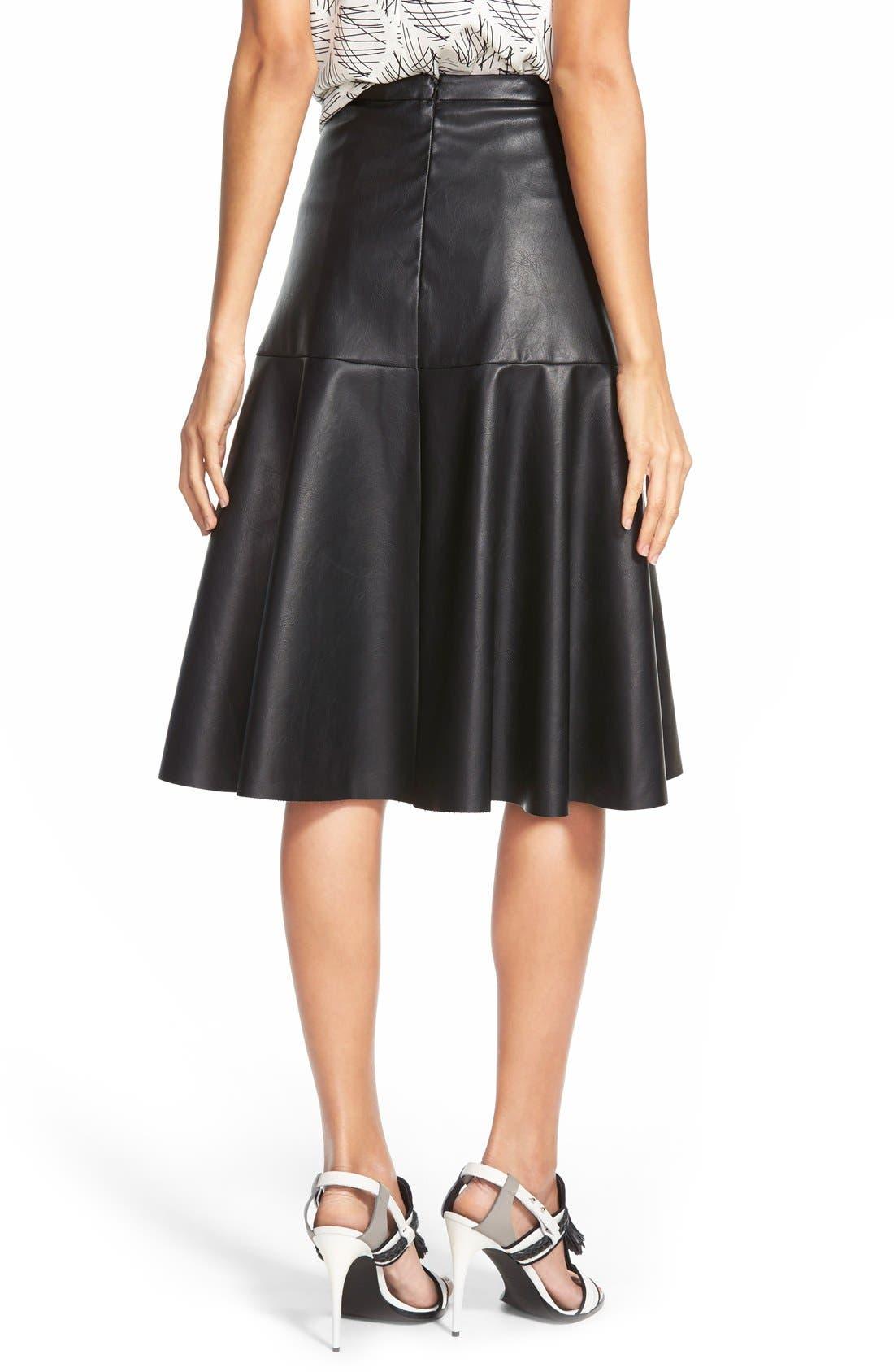 Faux Leather Midi Skirt,                             Alternate thumbnail 3, color,                             001