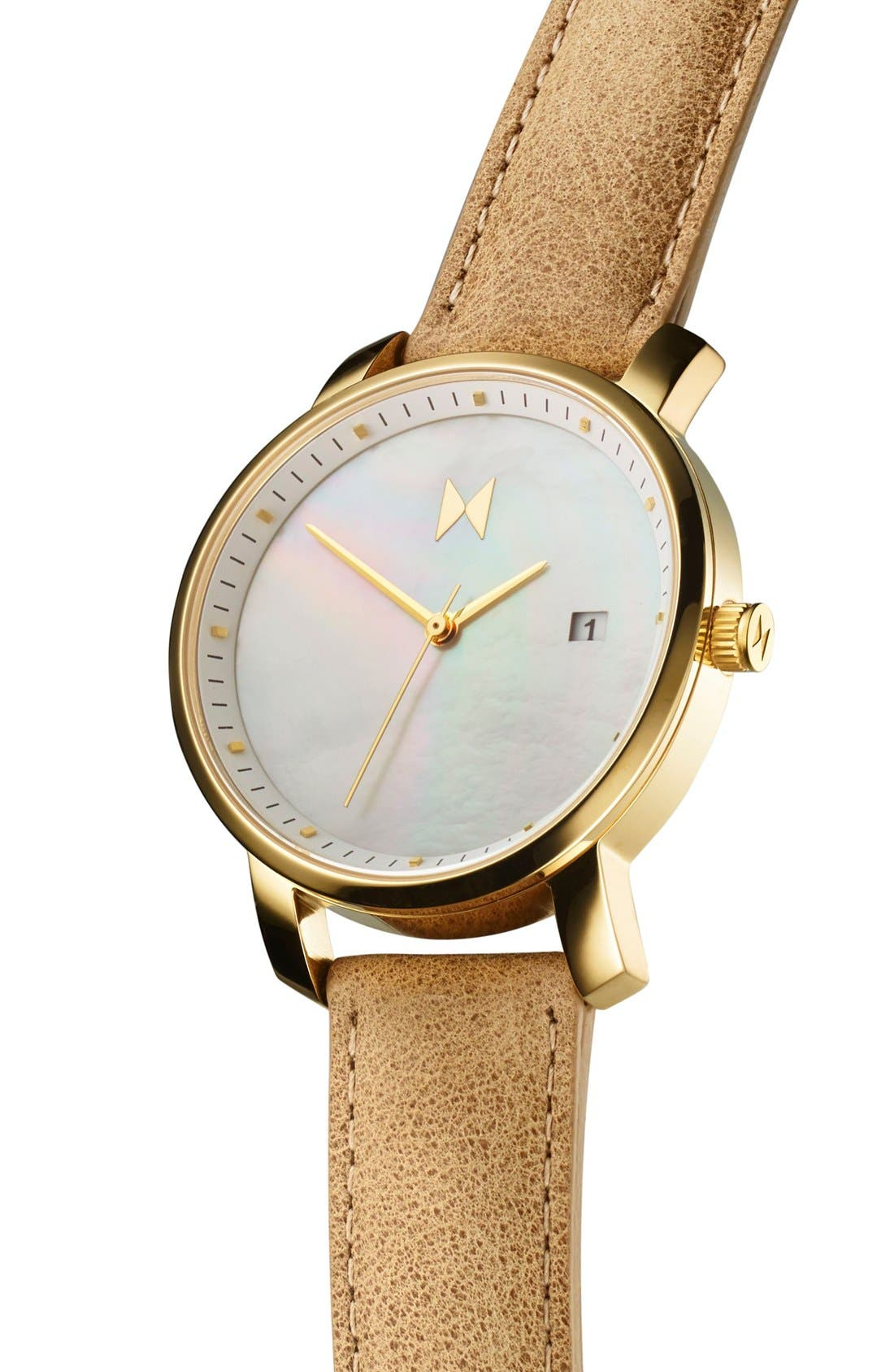 Leather Strap Watch, 38mm,                             Alternate thumbnail 4, color,                             200