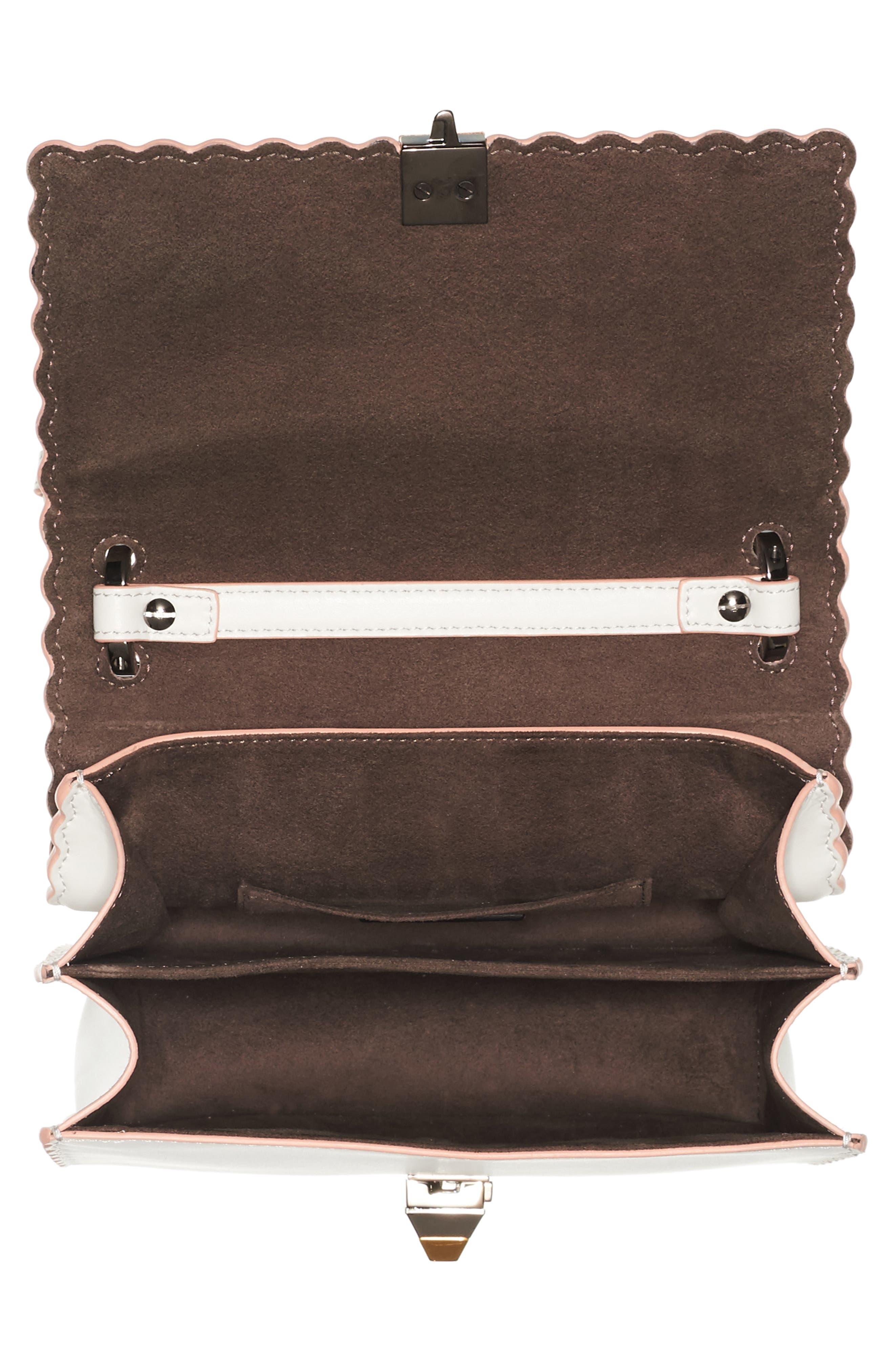 Mini Kan Scallop Genuine Snakeskin & Leather Shoulder Bag,                             Alternate thumbnail 3, color,                             TAUPE/ROMARO/WHITE