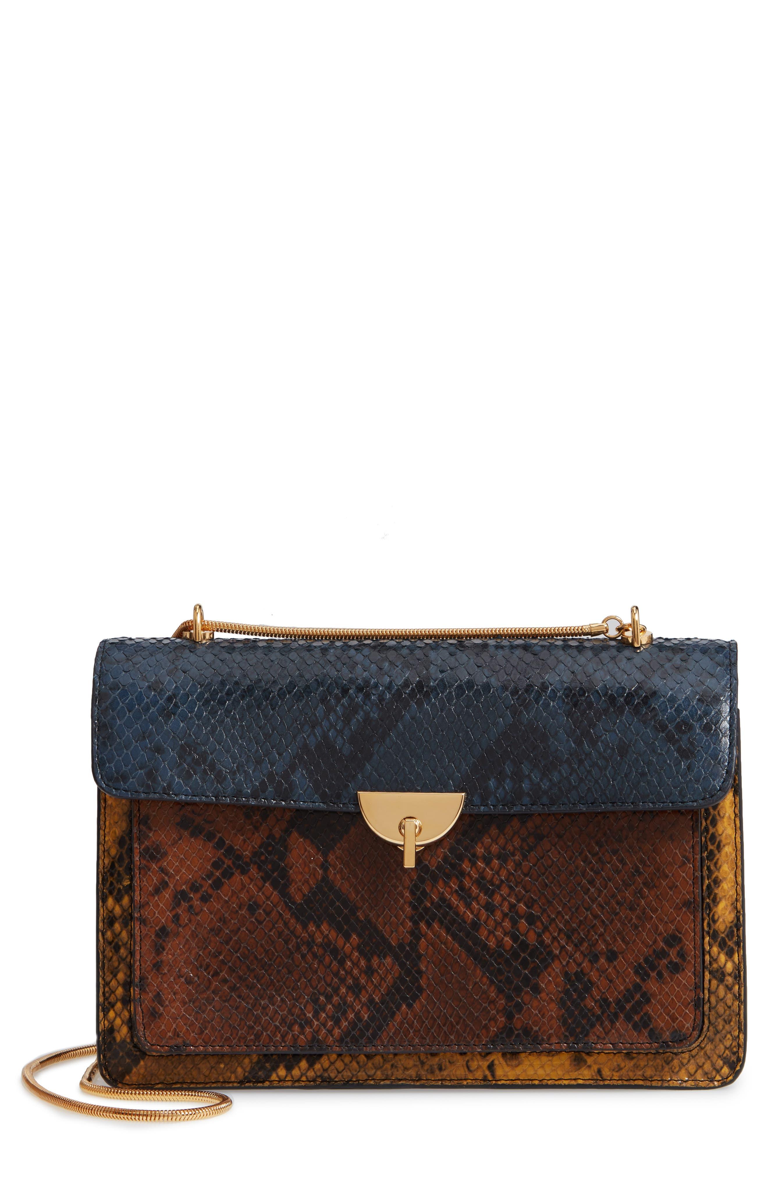 Croc Embossed Leather Shoulder Bag,                         Main,                         color, 200