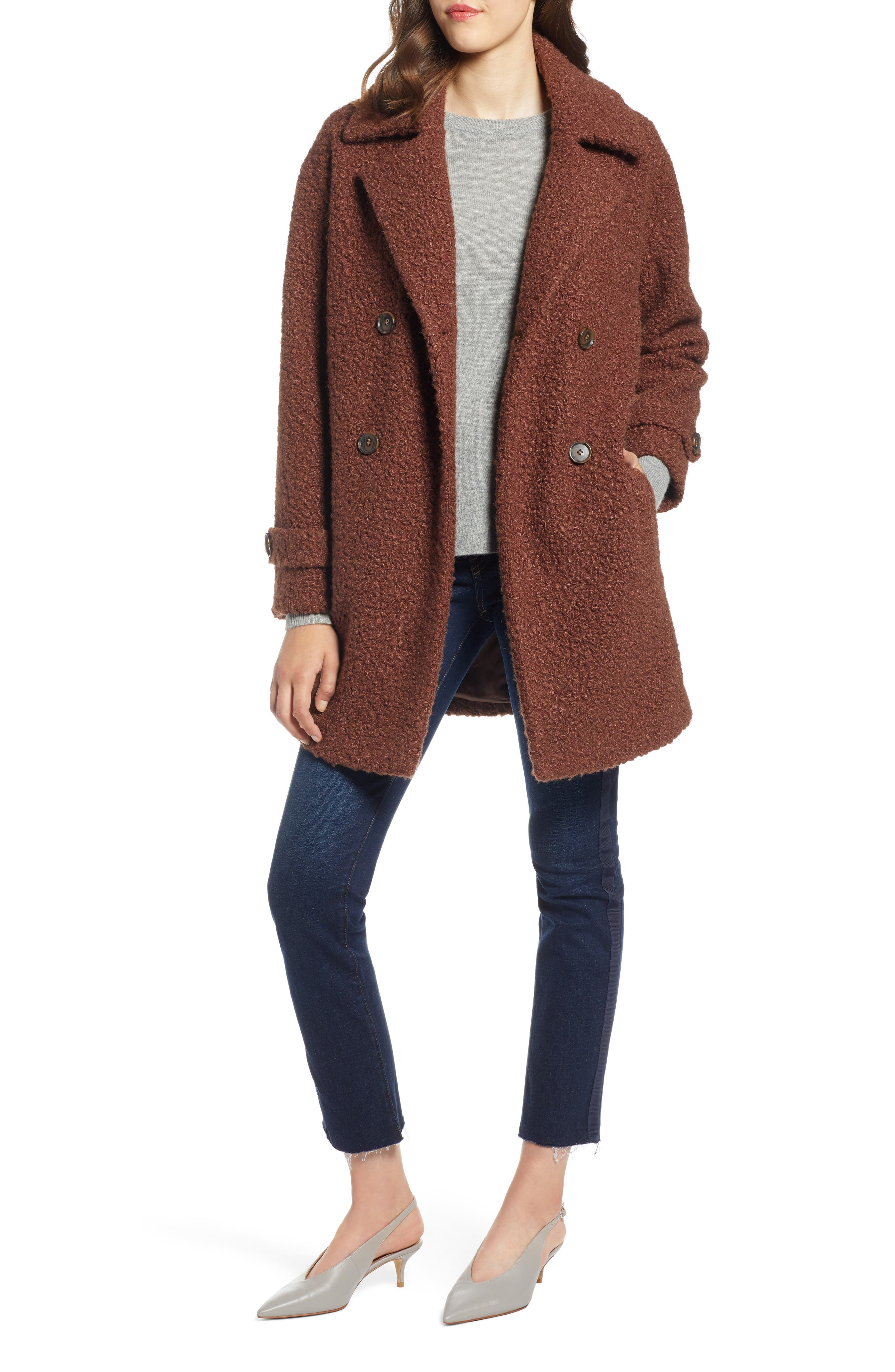 Double Breasted Bouclé Coat, Main, color, COGNAC