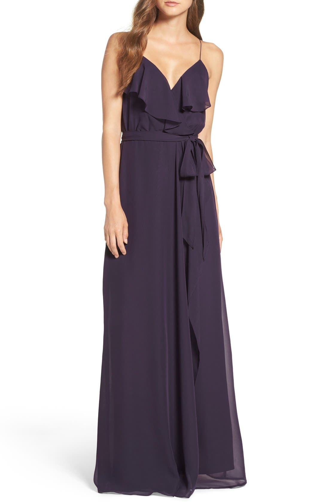 'Drew' Ruffle Front Chiffon Gown,                             Main thumbnail 10, color,