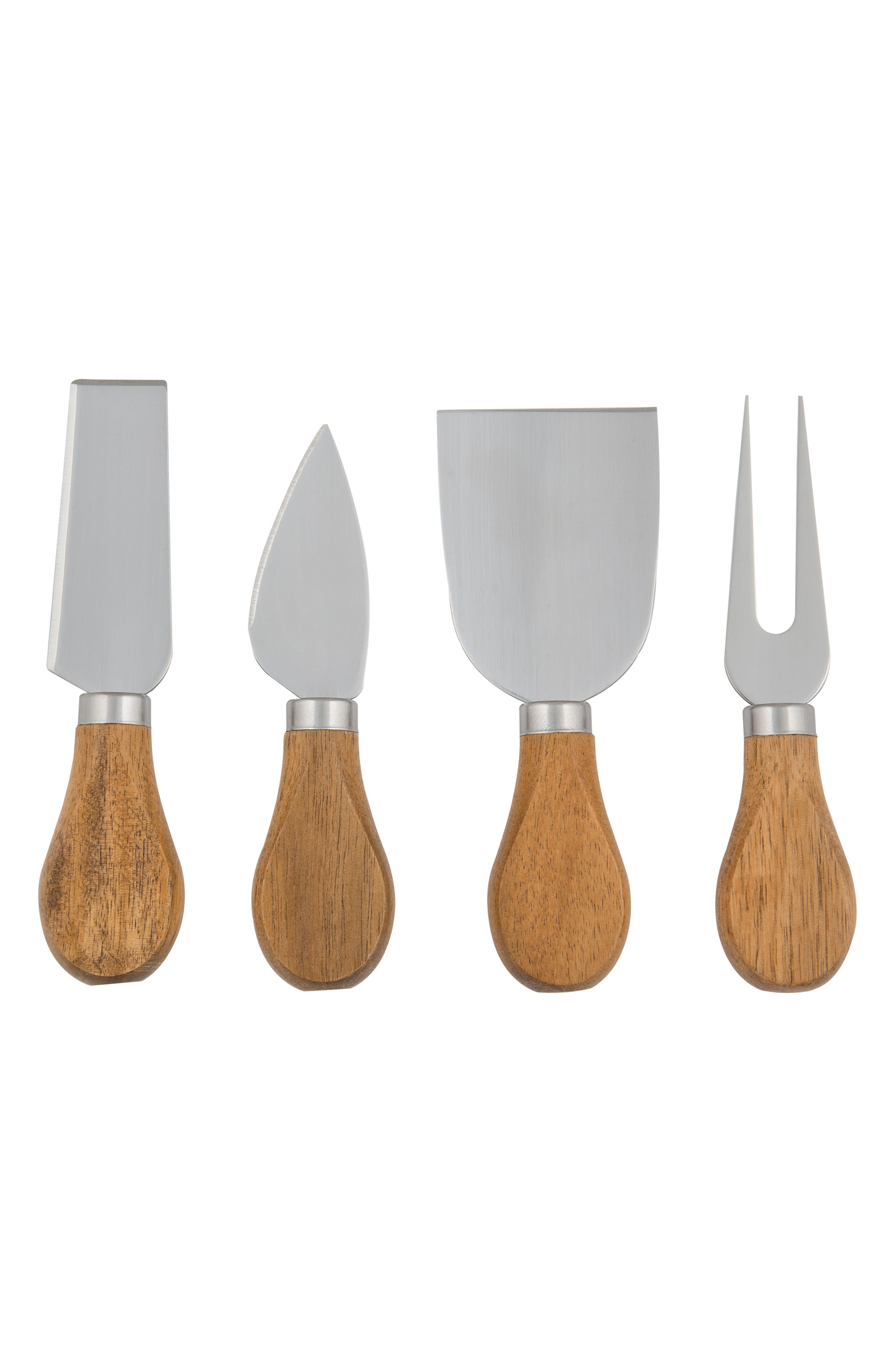 Monogram 5-Piece Cheese Board & Utensil Set,                             Alternate thumbnail 4, color,                             BROWN