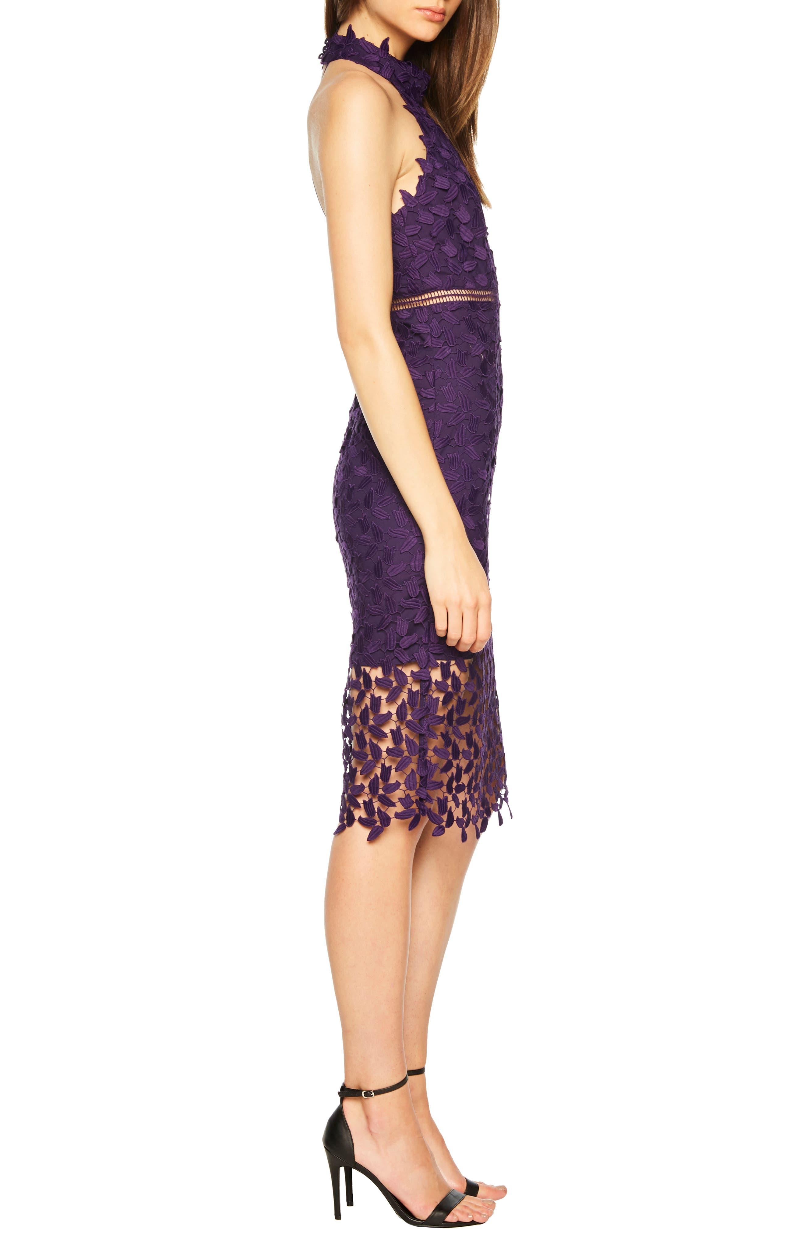 Gemma Halter Lace Sheath Dress,                             Alternate thumbnail 3, color,                             DARK PURPLE