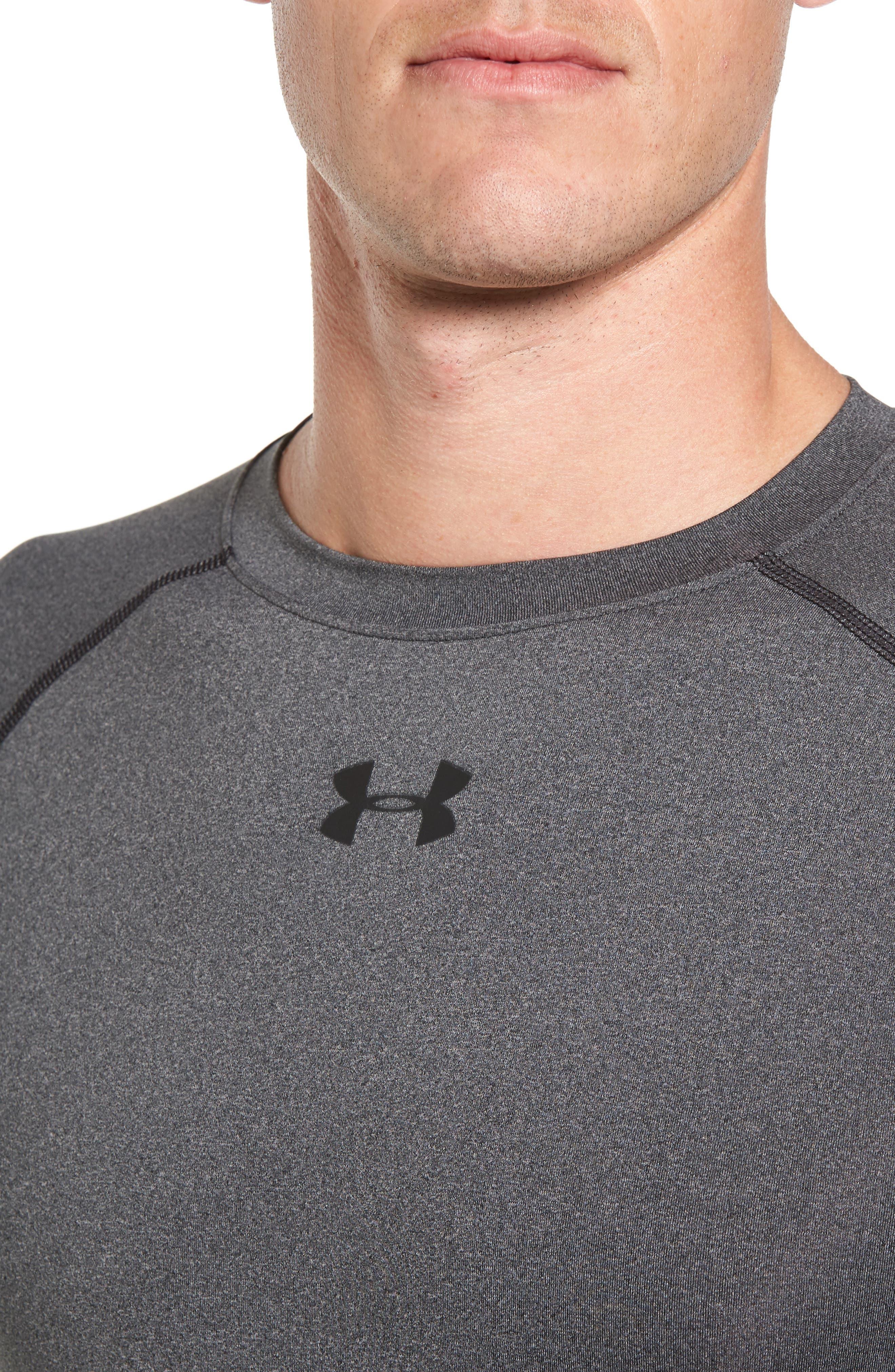 HeatGear<sup>®</sup> Compression Fit T-Shirt,                             Alternate thumbnail 5, color,                             CARBON HEATHER/ BLACK