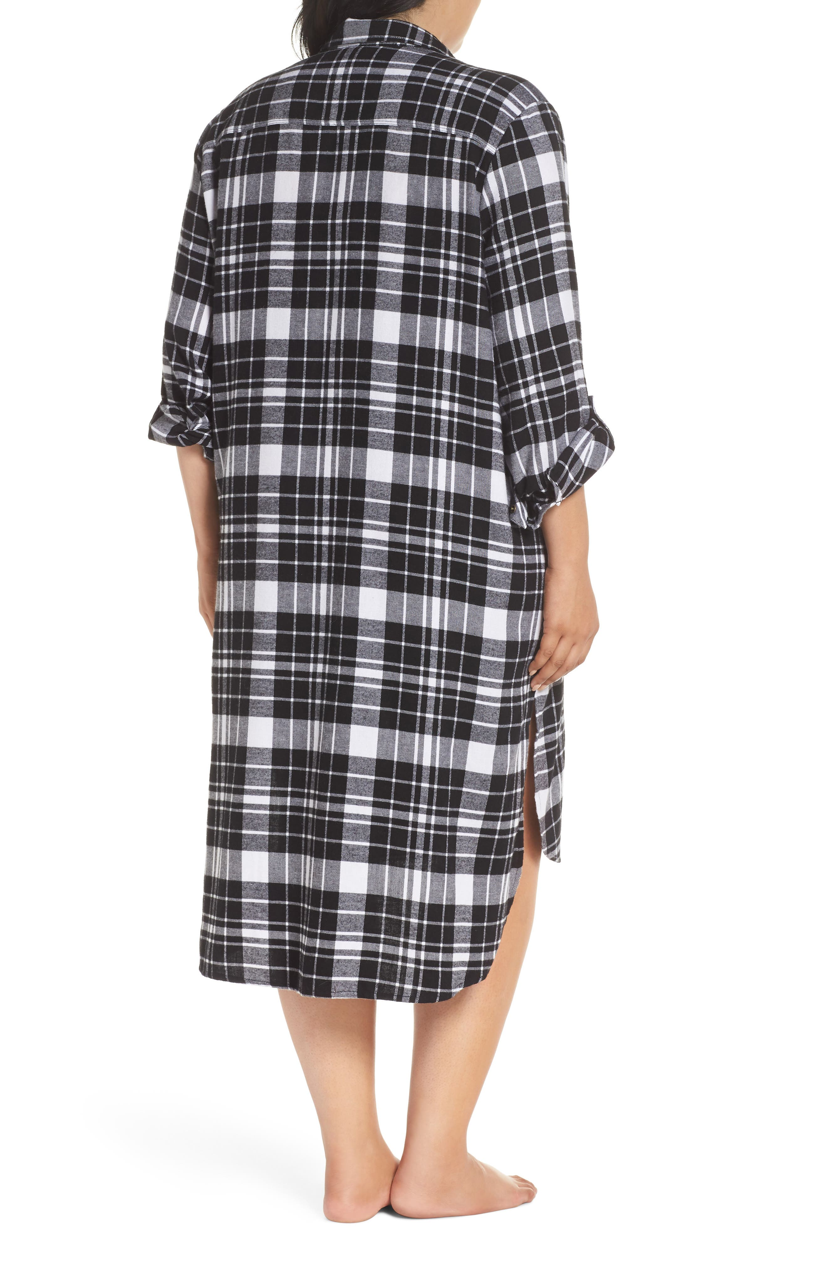 Long Flannel Nightshirt,                             Alternate thumbnail 2, color,                             001