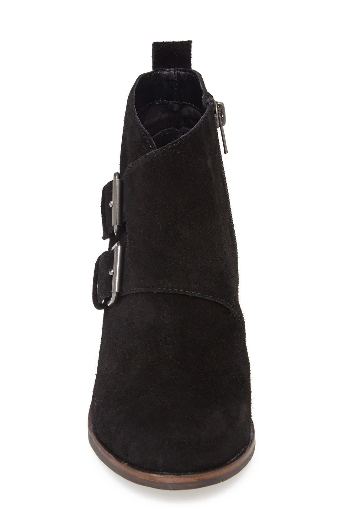 DV Footwear 'Fabian' Monk Strap Wedge Bootie,                             Alternate thumbnail 4, color,                             001