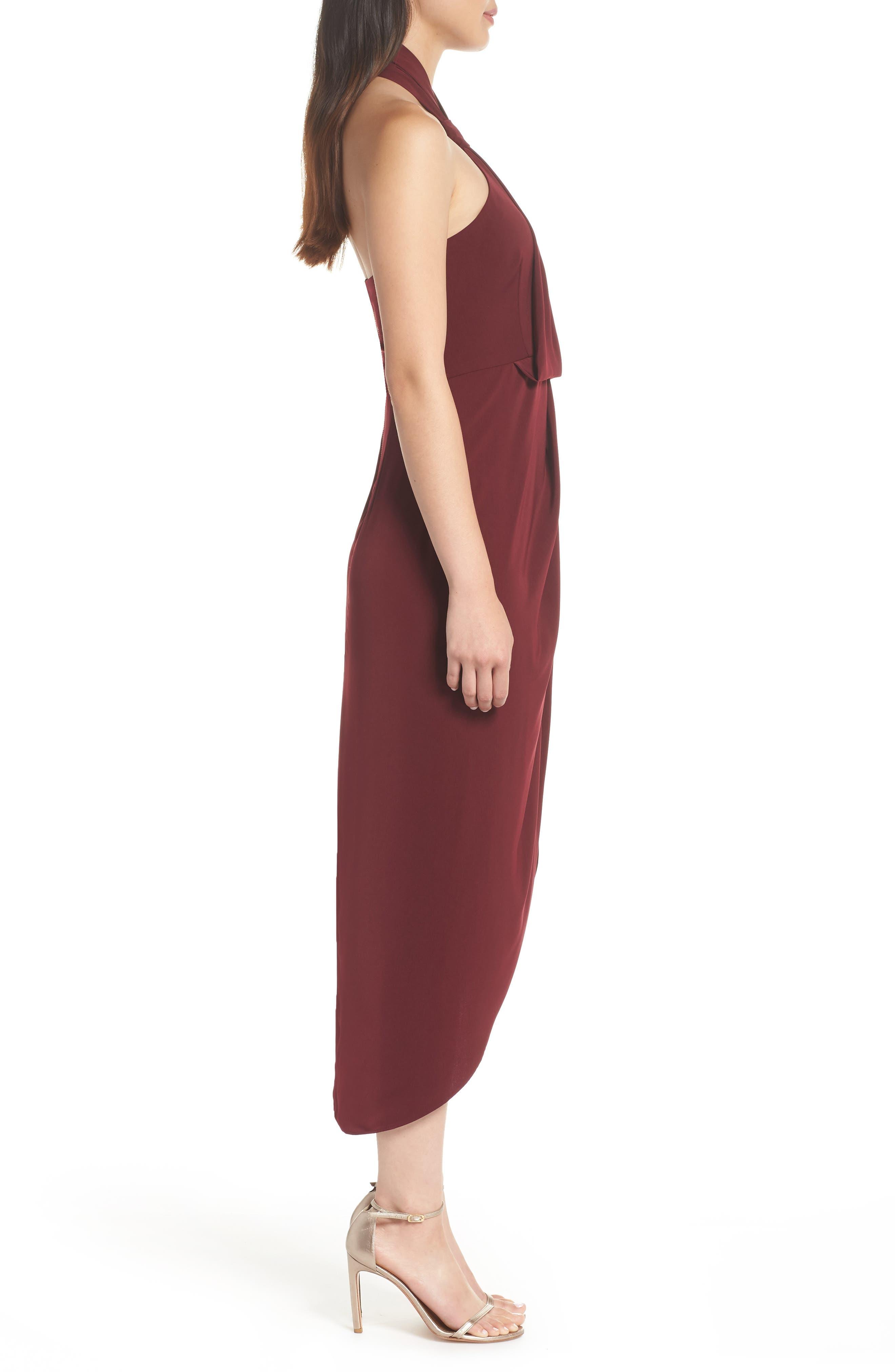 SHONA JOY,                             Knotted Tulip Hem Midi Dress,                             Alternate thumbnail 3, color,                             BURGUNDY