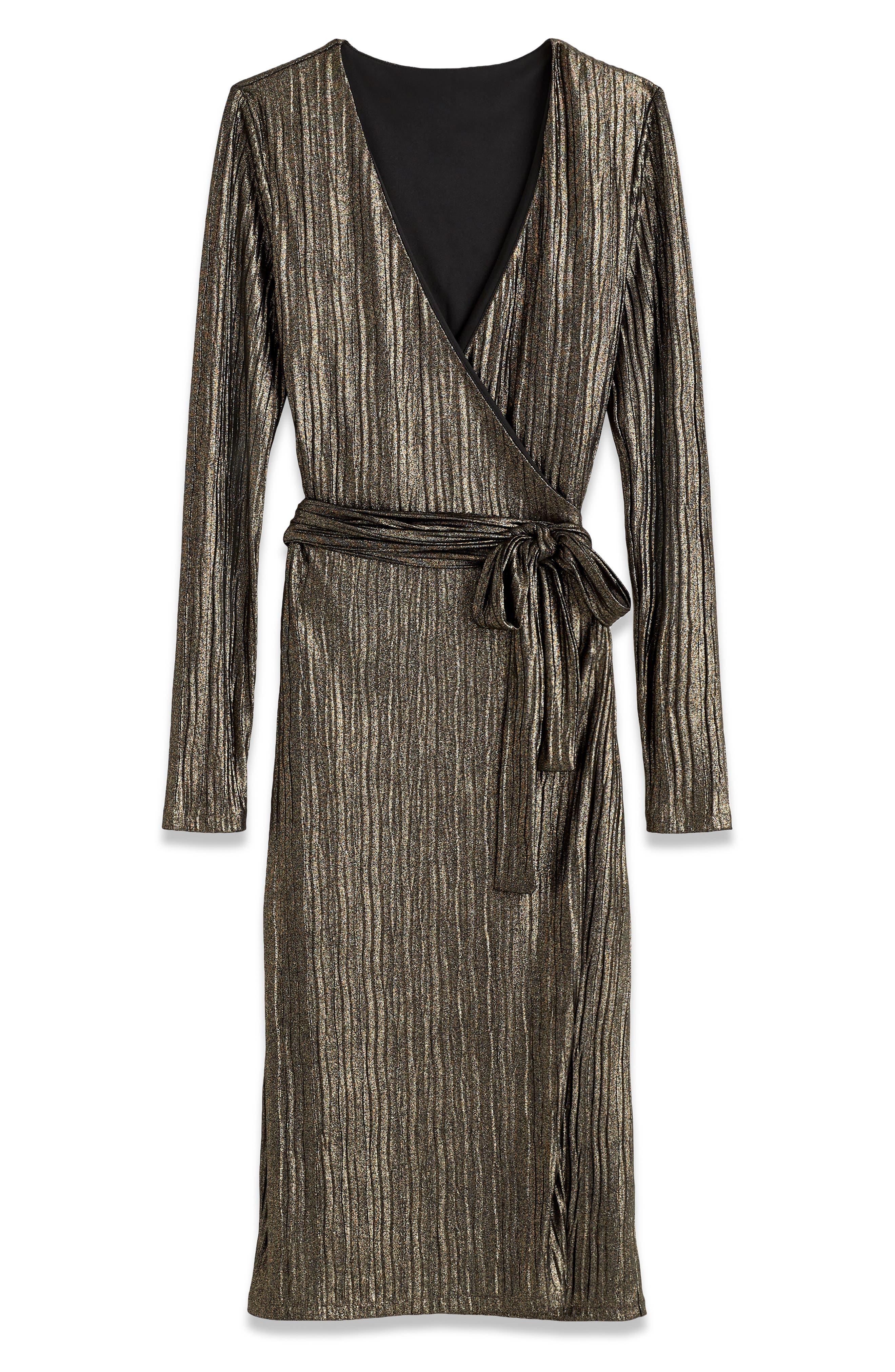 Pleated Metallic Wrap Dress,                             Alternate thumbnail 3, color,                             BLACK/ GOLD