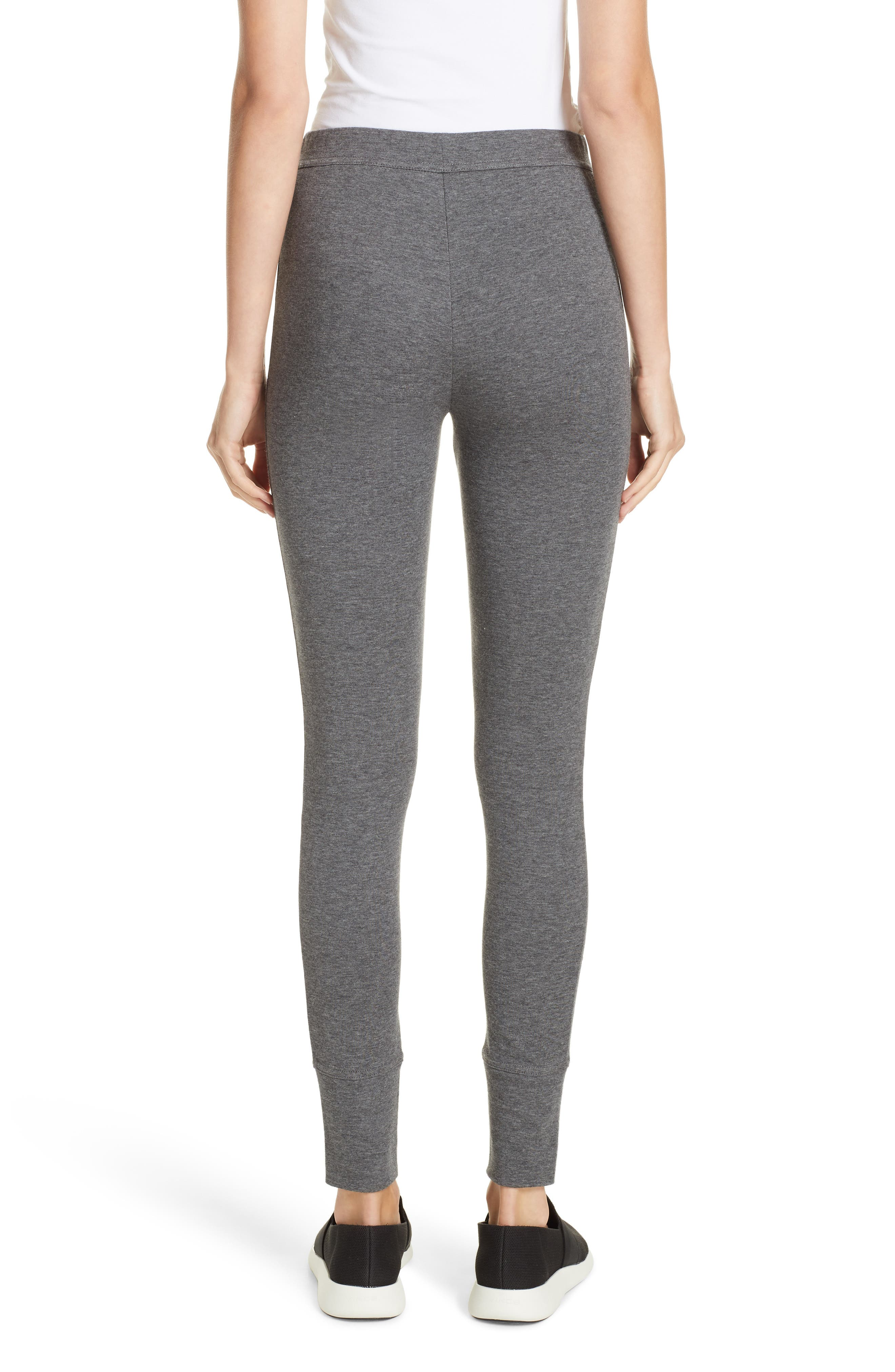 Heathered Cotton Blend Leggings,                             Alternate thumbnail 2, color,                             HEATHER CHARCOAL