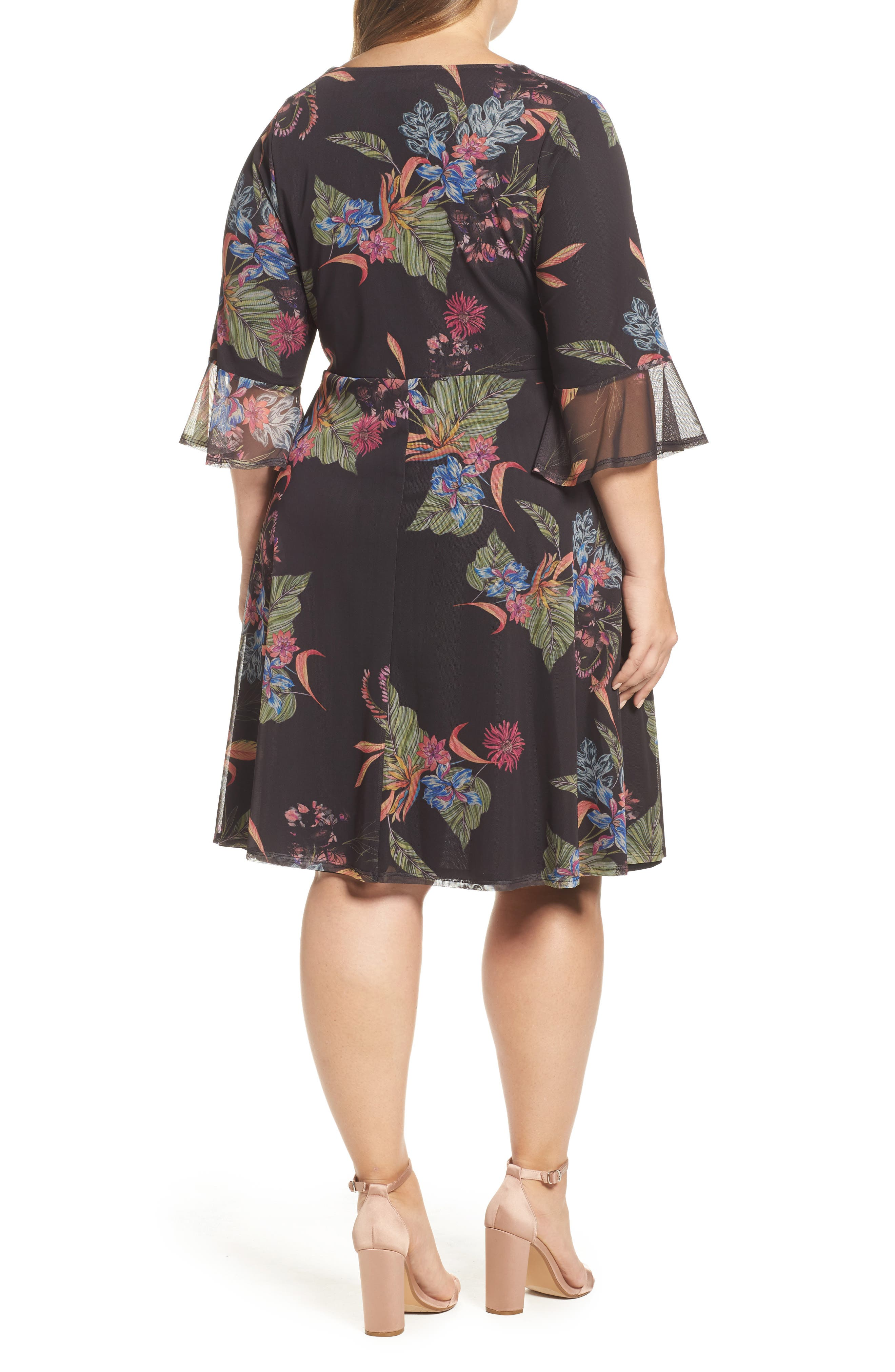 Tropic Print Mesh Dress,                             Alternate thumbnail 2, color,                             001