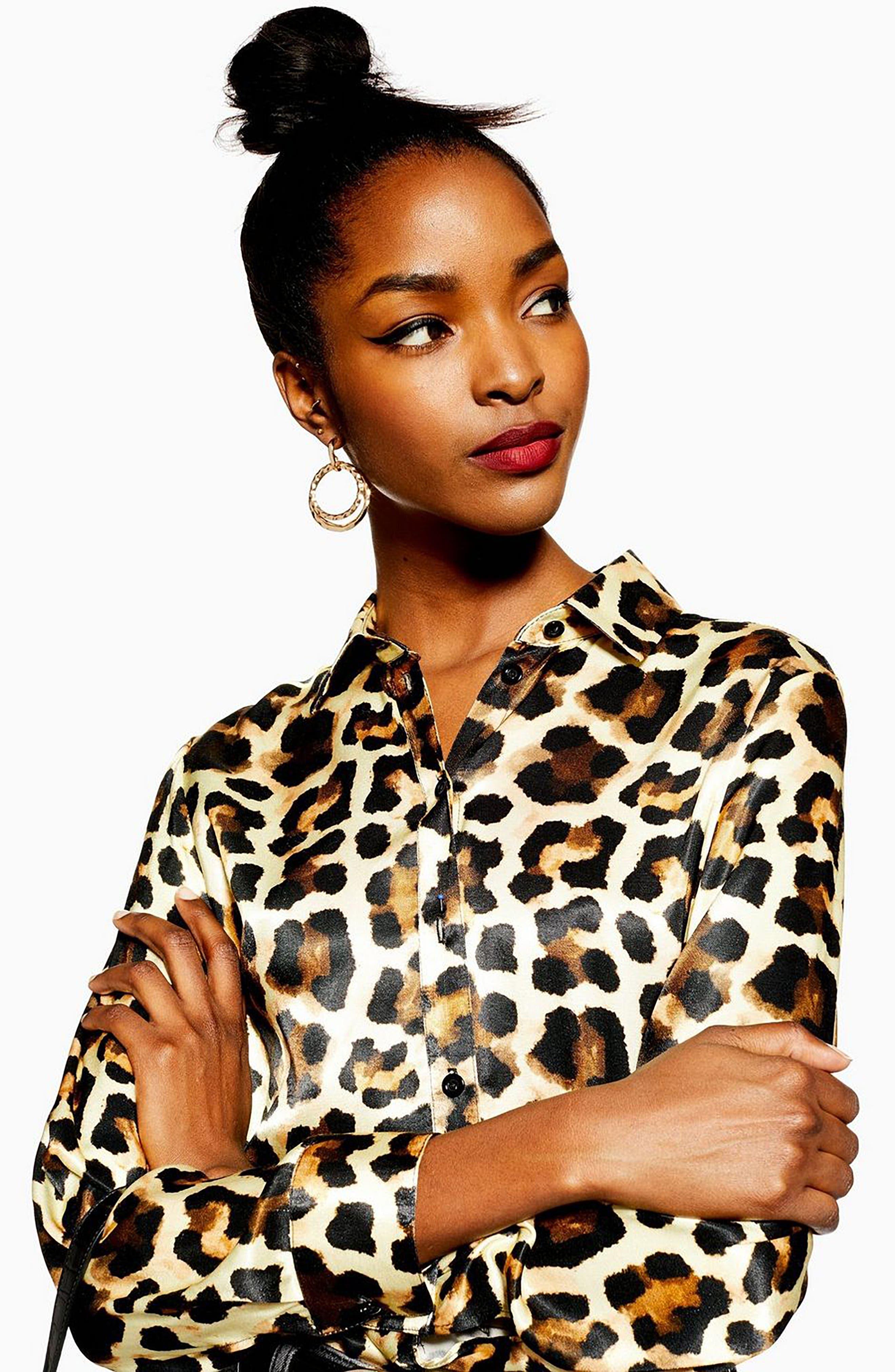 Leopard Print Shirt,                             Alternate thumbnail 4, color,                             BROWN MULTI