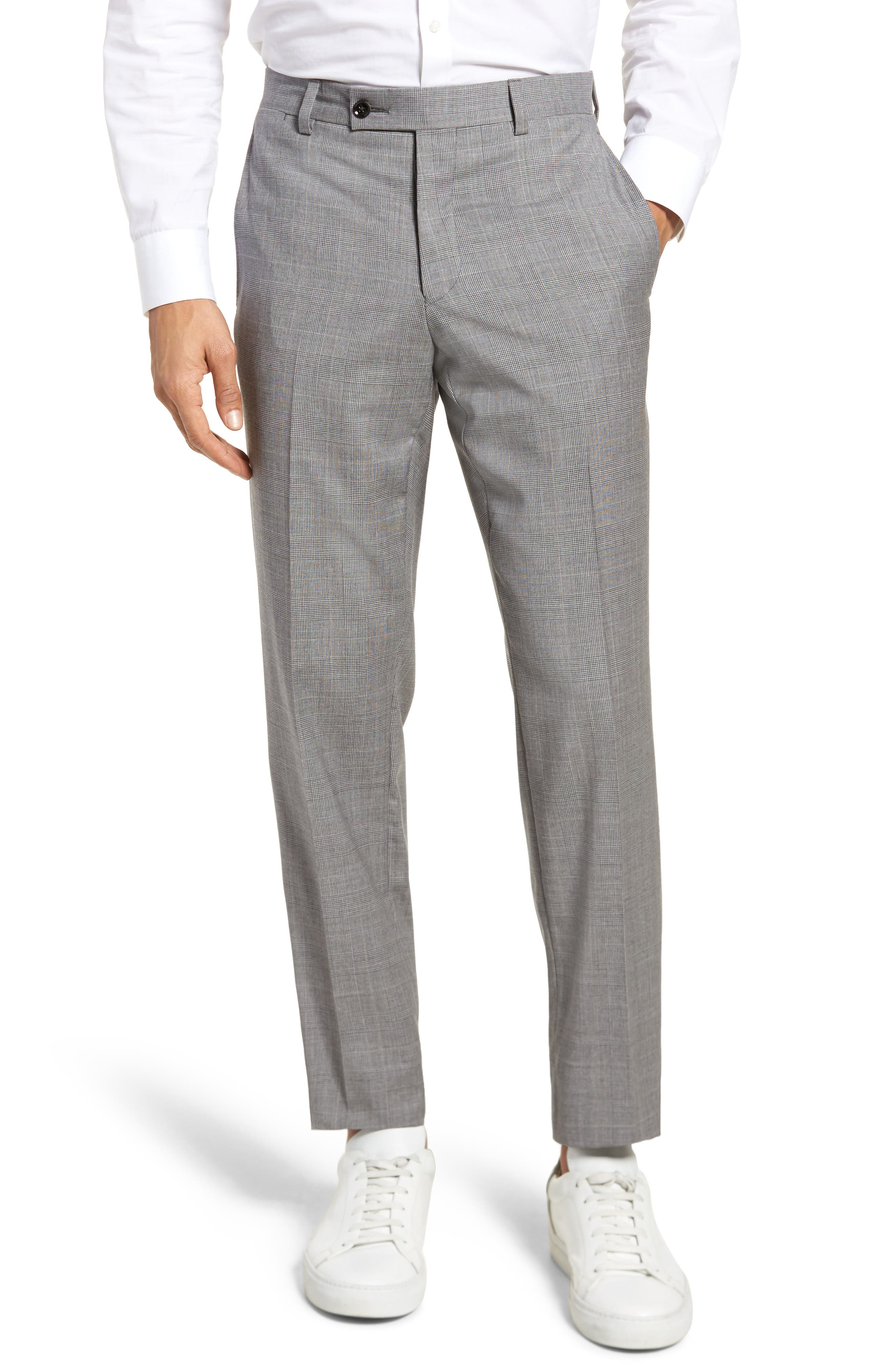 Jefferson Flat Front Check Wool Trousers,                             Main thumbnail 2, color,
