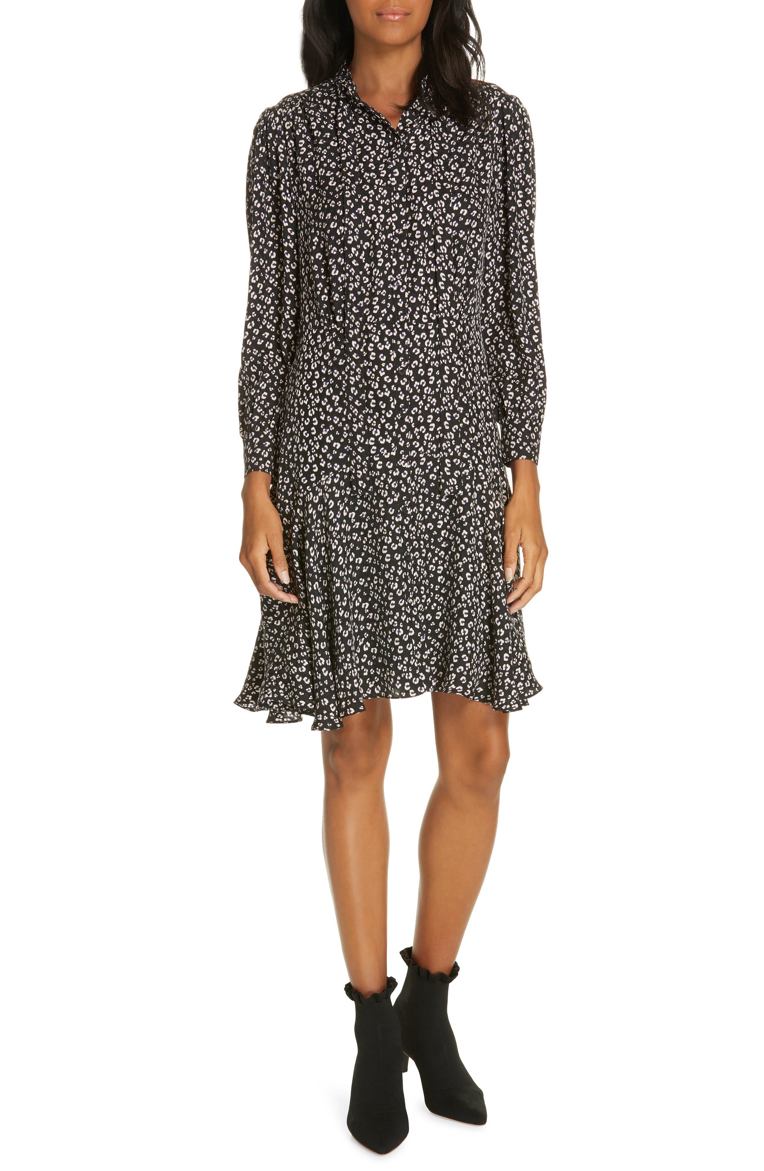 Cheetah Print Silk Dress,                         Main,                         color, BLACK COMBO