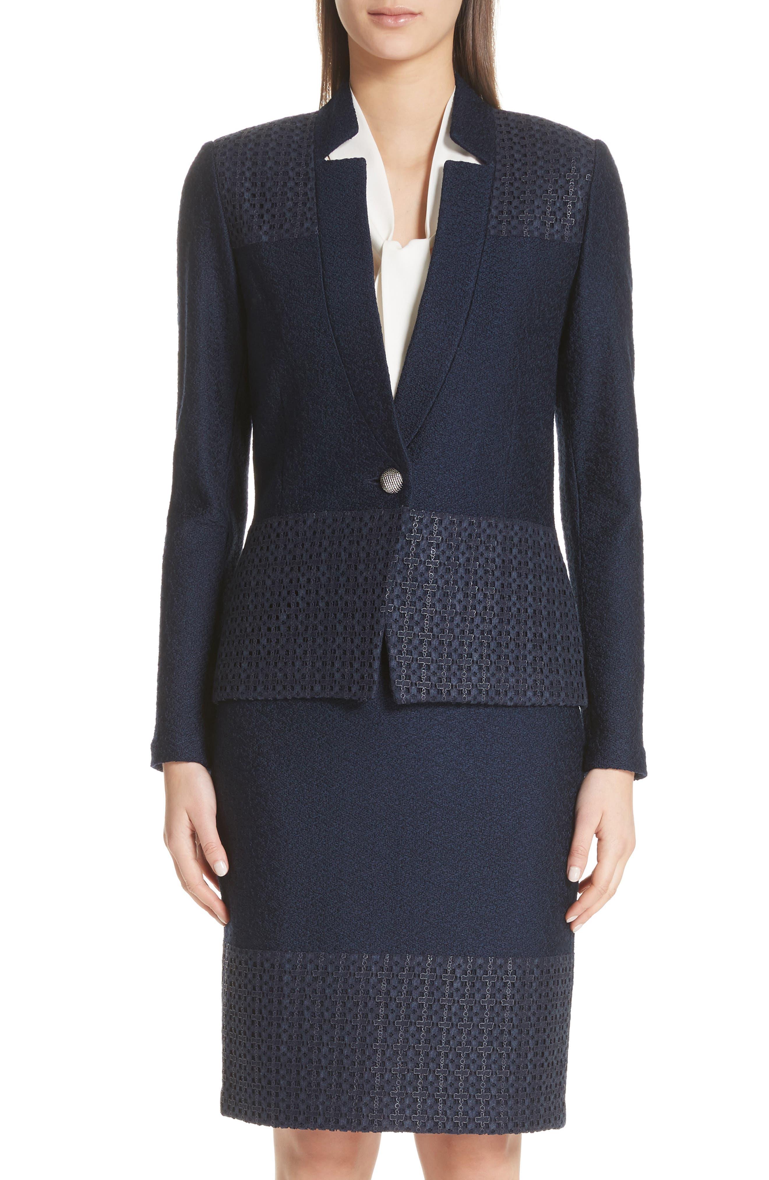 Caris Geo Lace Trim Knit Jacket in Navy
