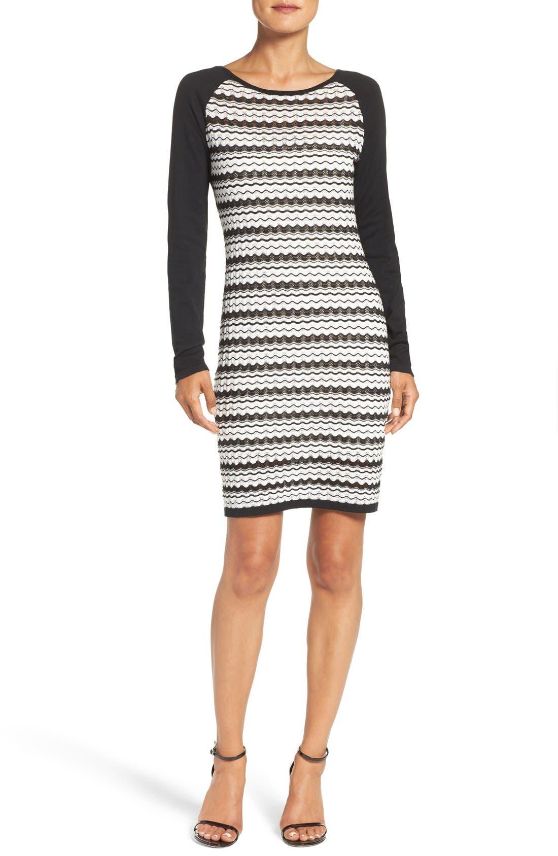 'Zeal' Pointelle Sweater Dress,                             Alternate thumbnail 2, color,                             001