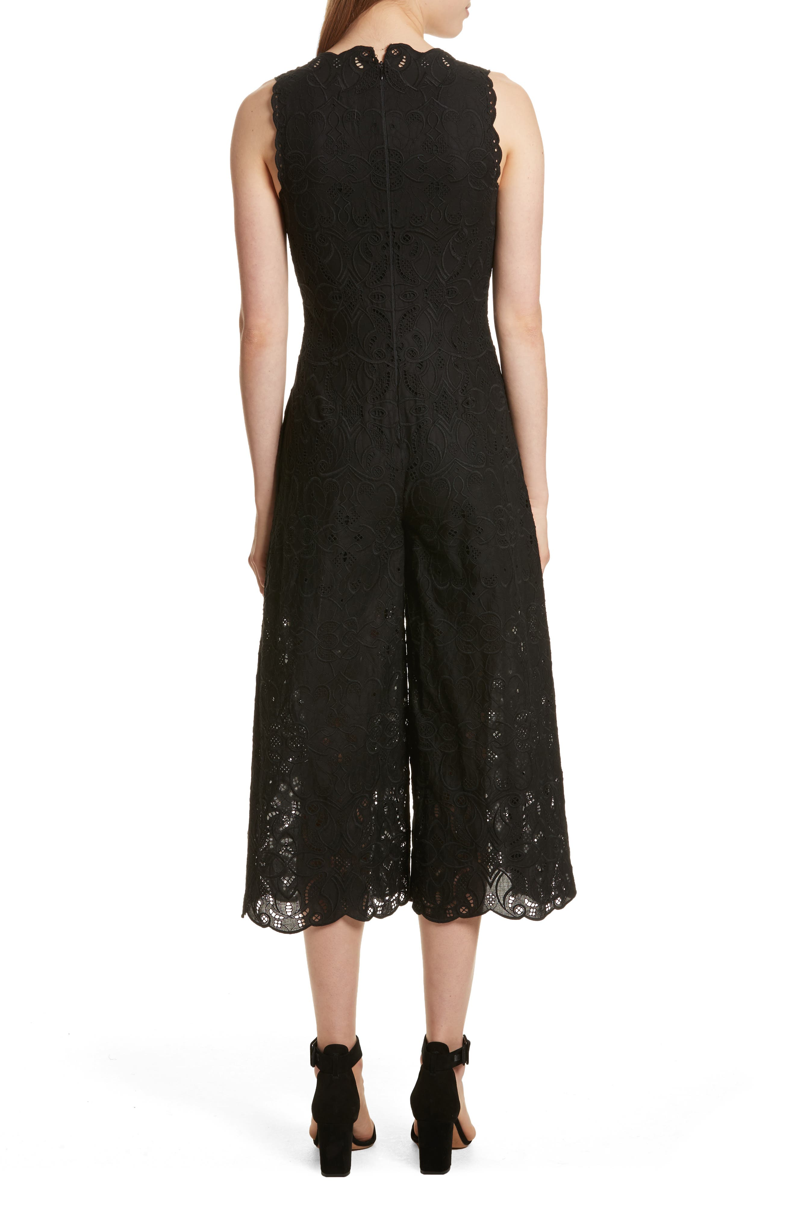 Scallop Edge Embroidered Jumpsuit,                             Alternate thumbnail 2, color,                             001