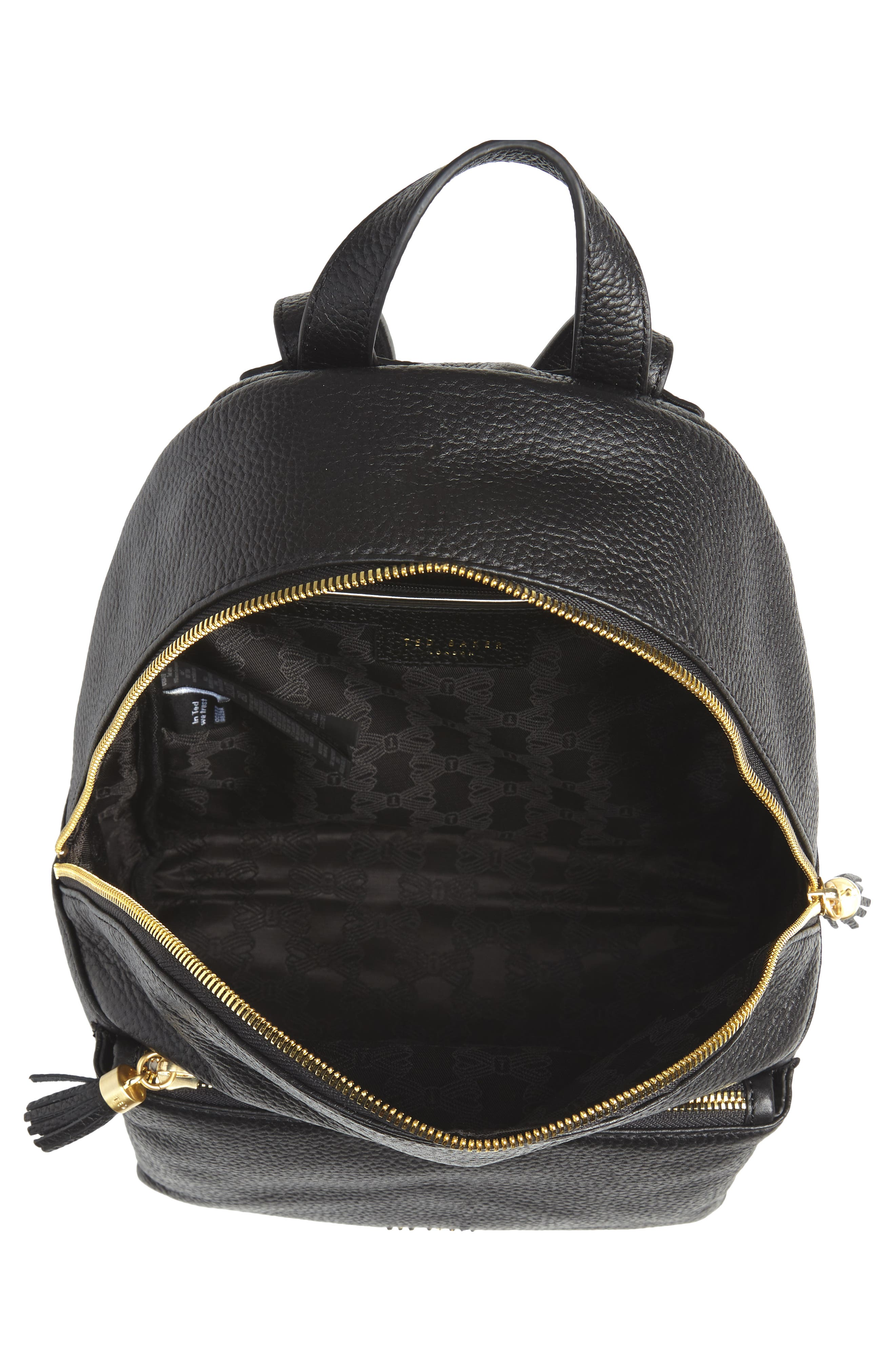 TED BAKER LONDON,                             Leather Backpack,                             Alternate thumbnail 4, color,                             001