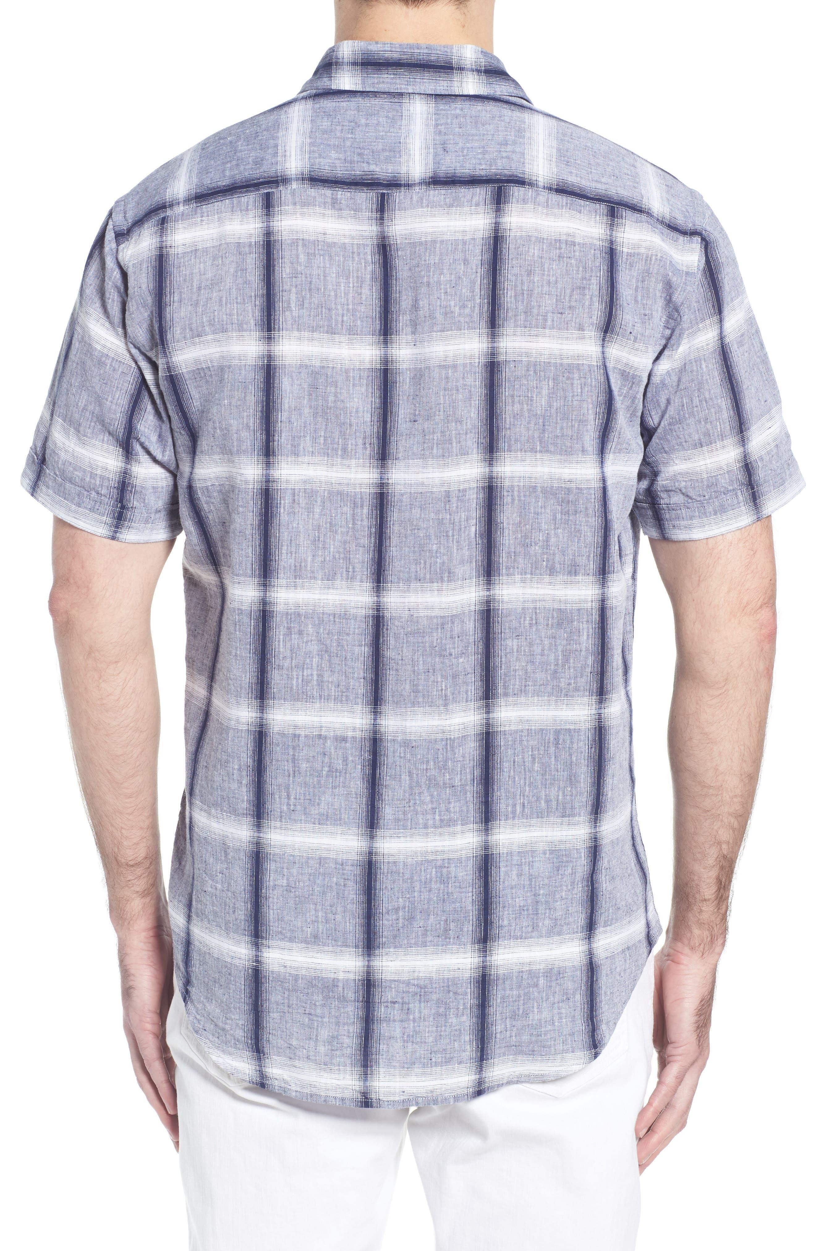 Shaped Fit Check Linen & Cotton Sport Shirt,                             Alternate thumbnail 2, color,                             NAVY