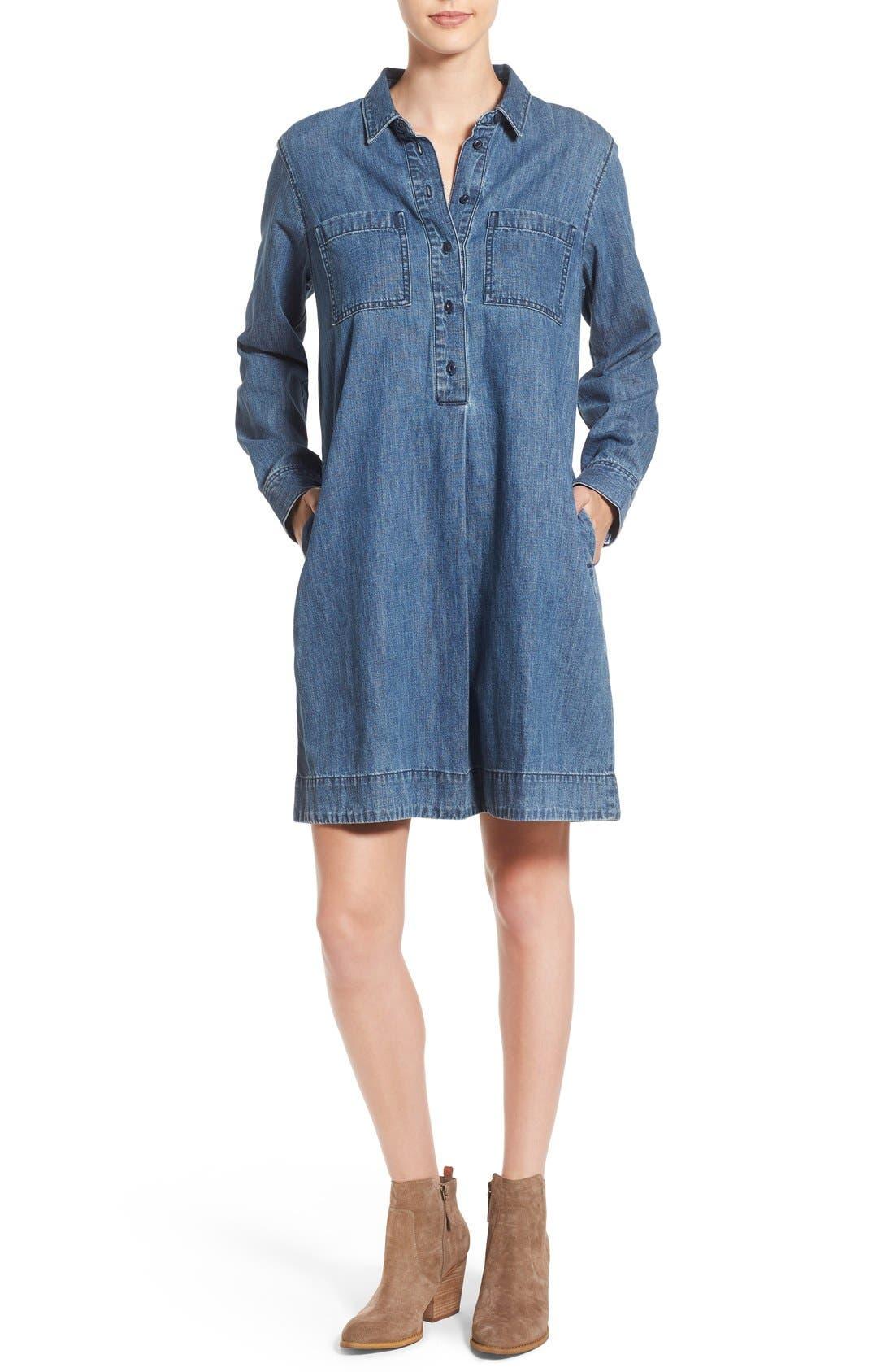 MADEWELL Denim Shirtdress, Main, color, 405
