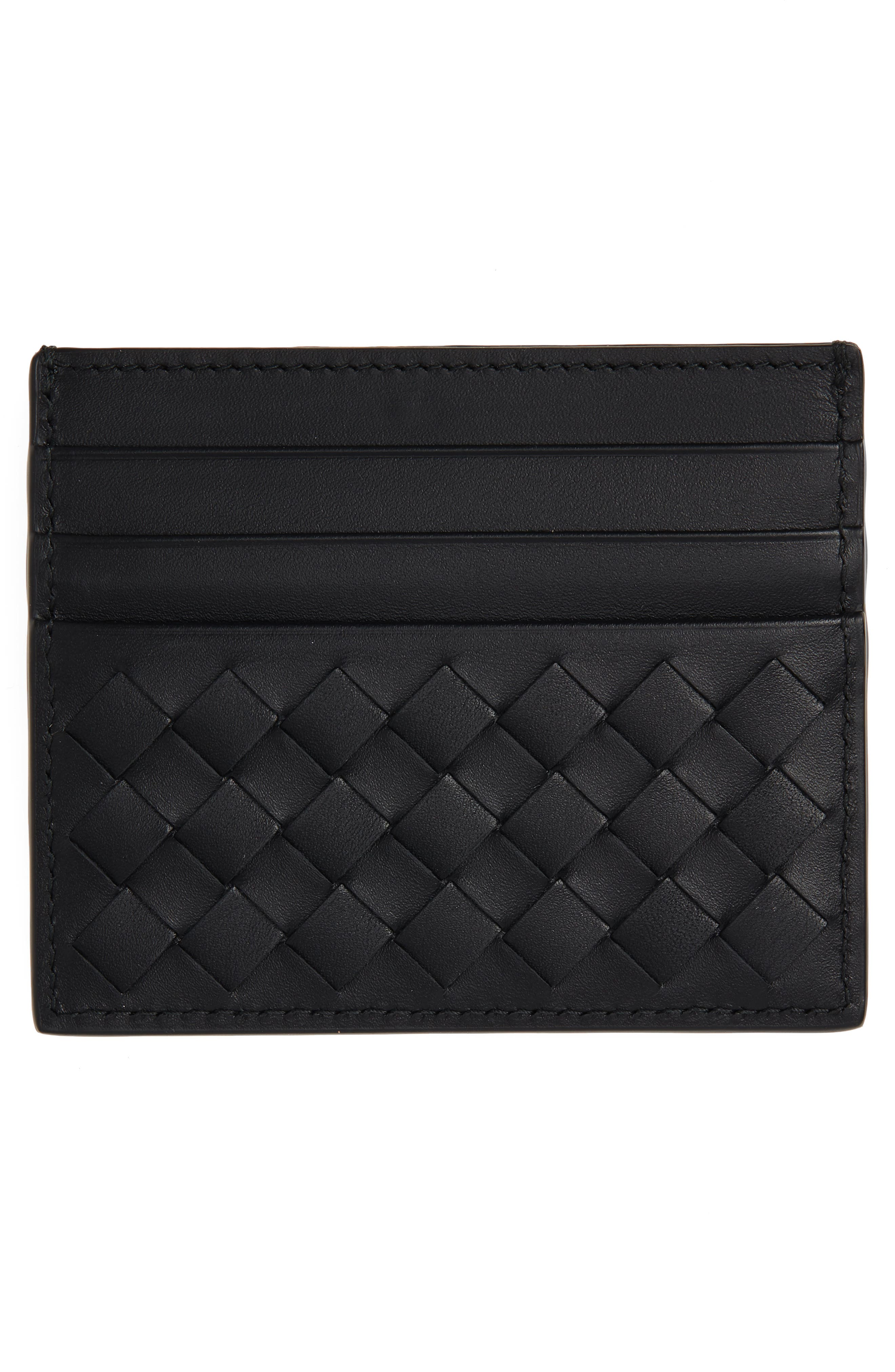 Woven Leather Card Case,                             Alternate thumbnail 2, color,                             1000 BLACK