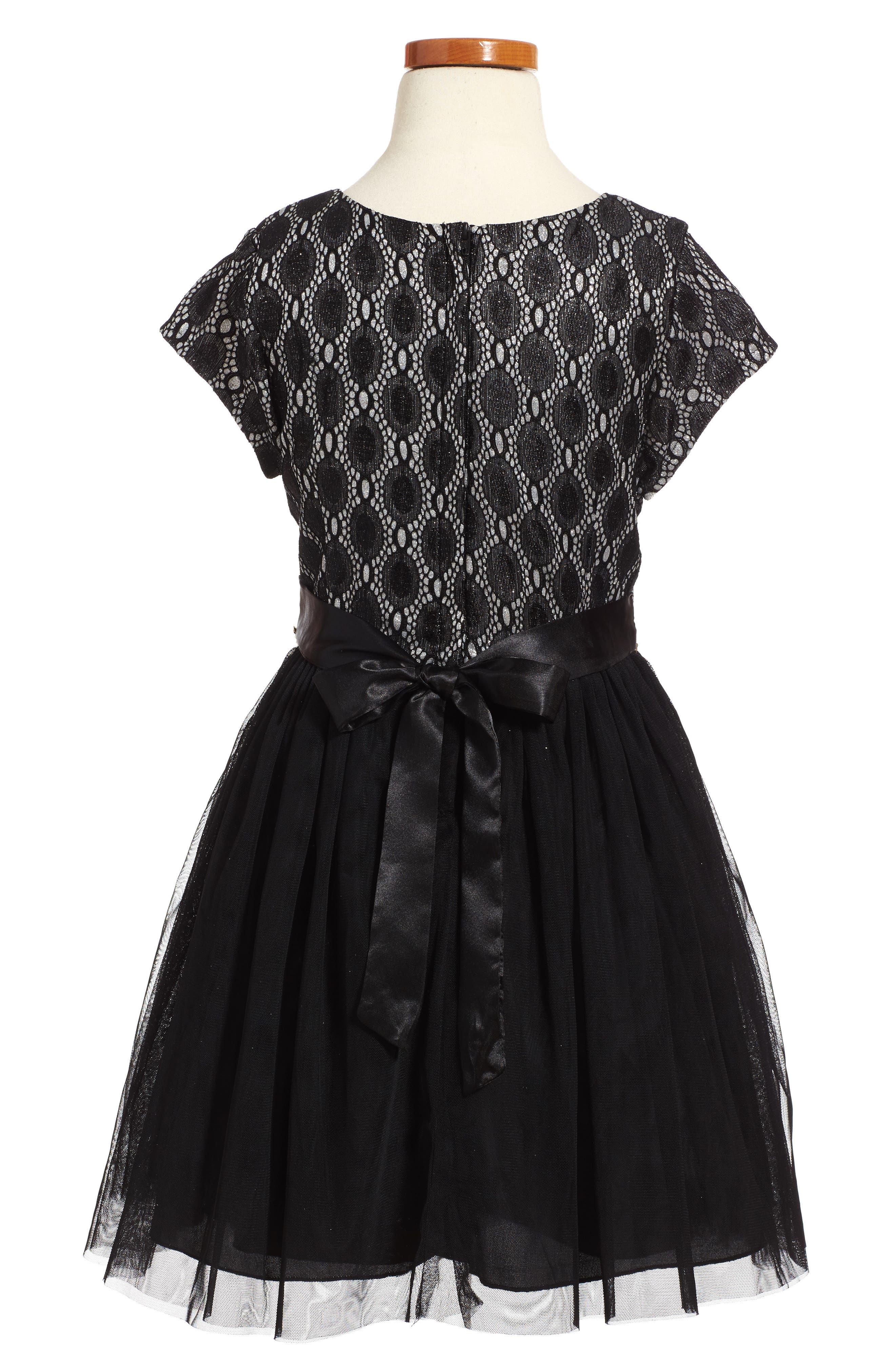 Glitter Lace Dress,                             Alternate thumbnail 2, color,                             001