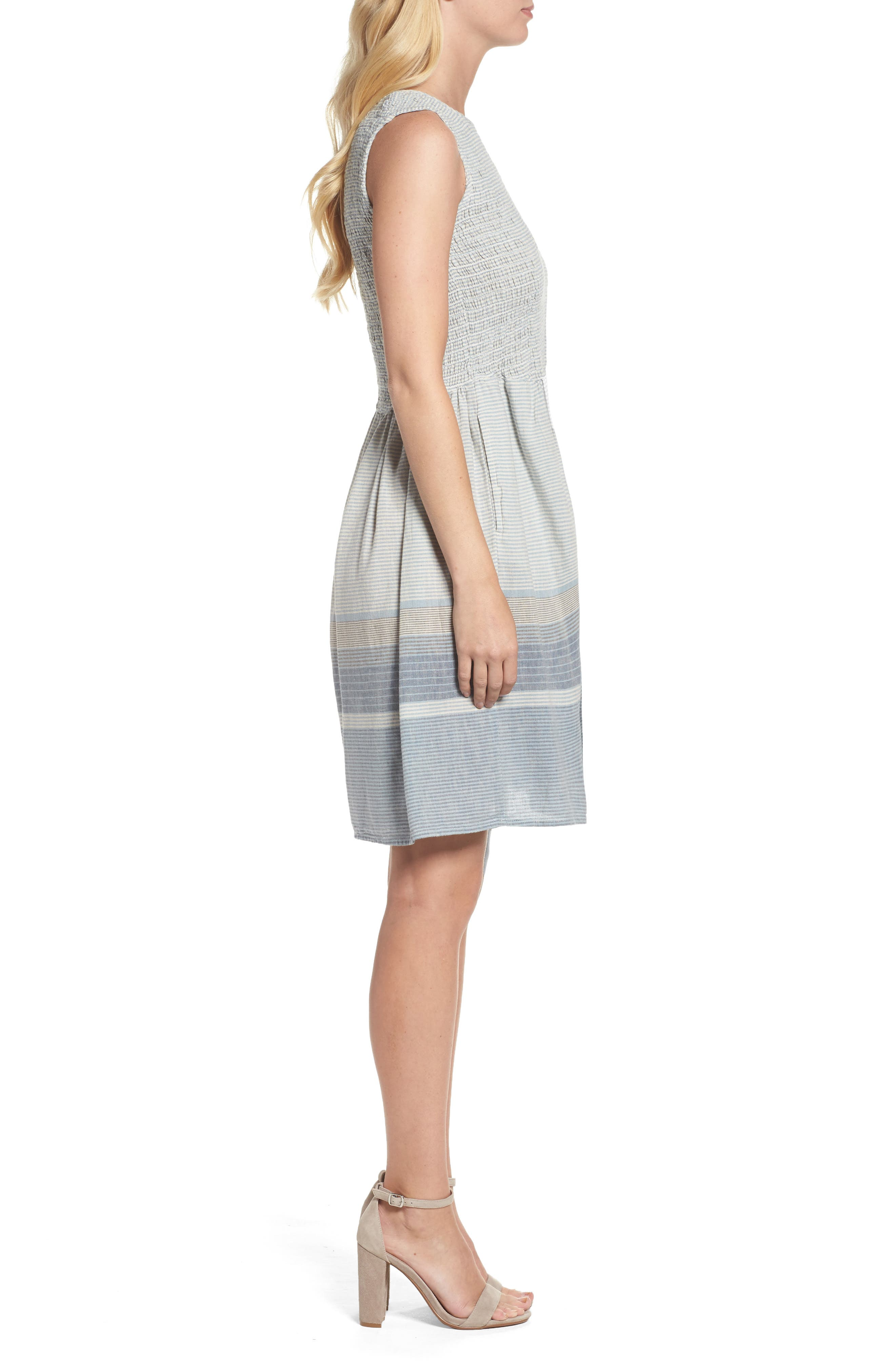 Serge Stripe Fit & Flare Dress,                             Alternate thumbnail 3, color,                             462