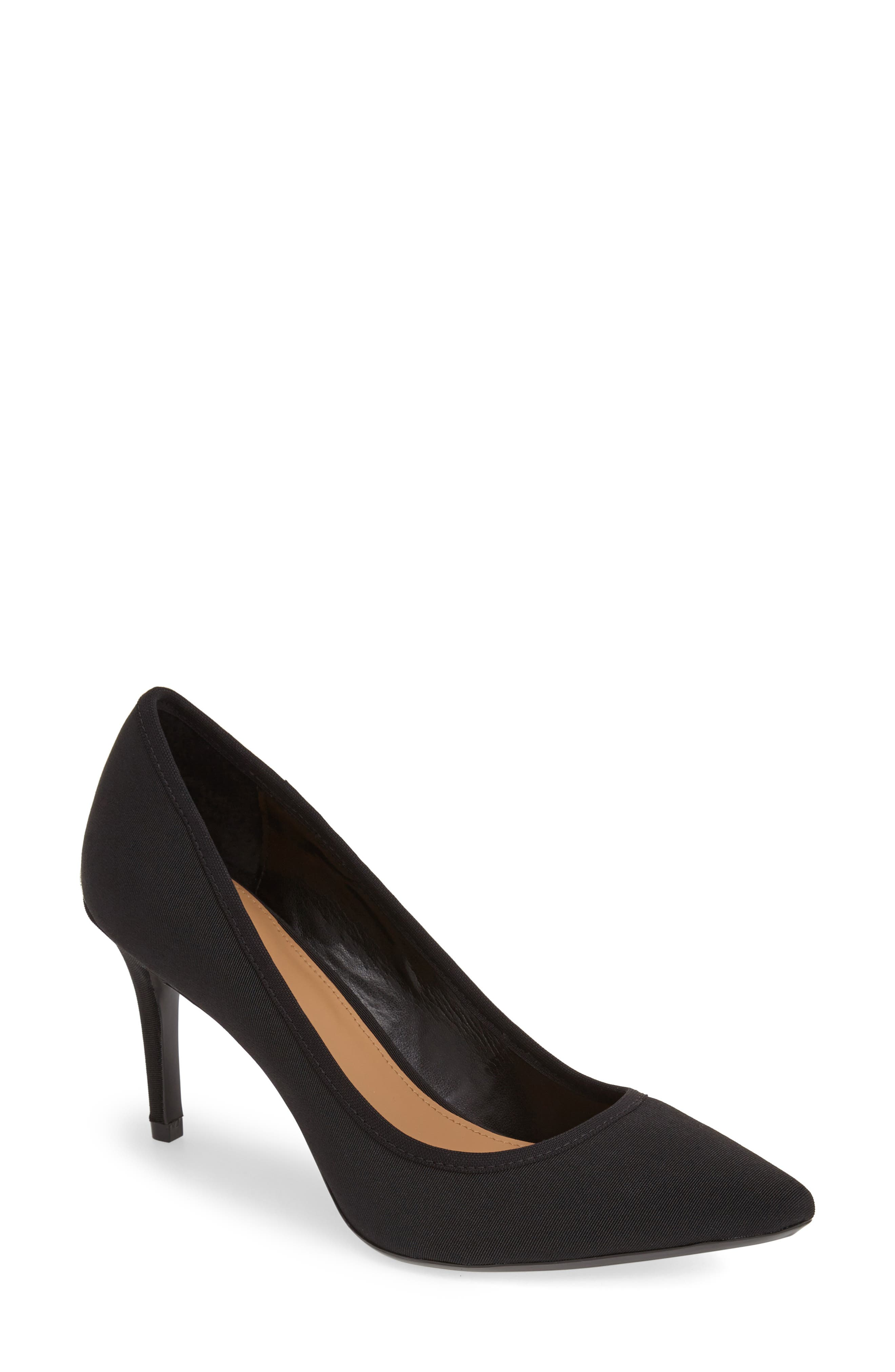 'Gayle' Pointy Toe Pump,                             Alternate thumbnail 2, color,                             BLACK STRETCH