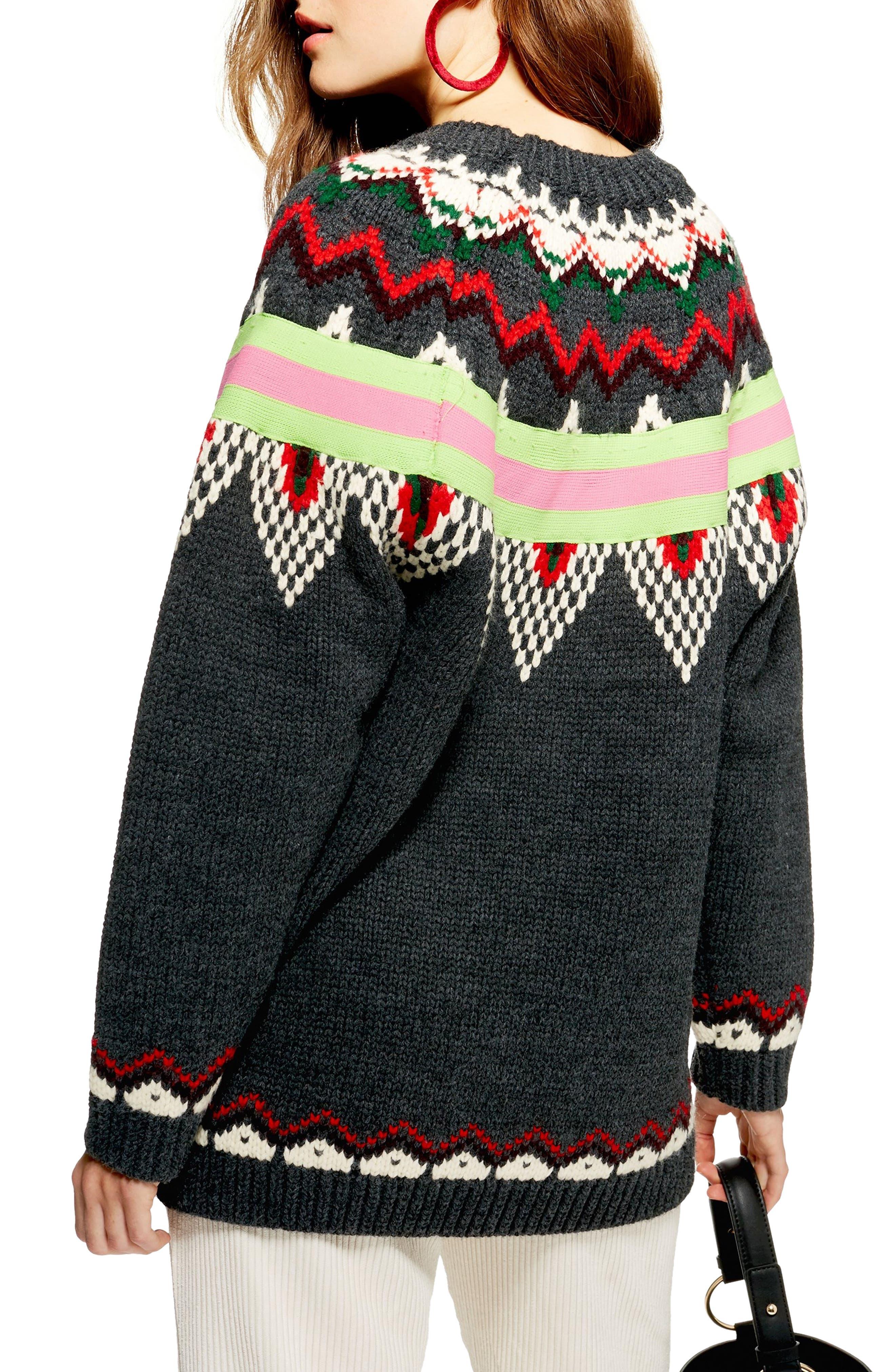Fluro Fair Isle Sweater,                             Alternate thumbnail 2, color,                             021