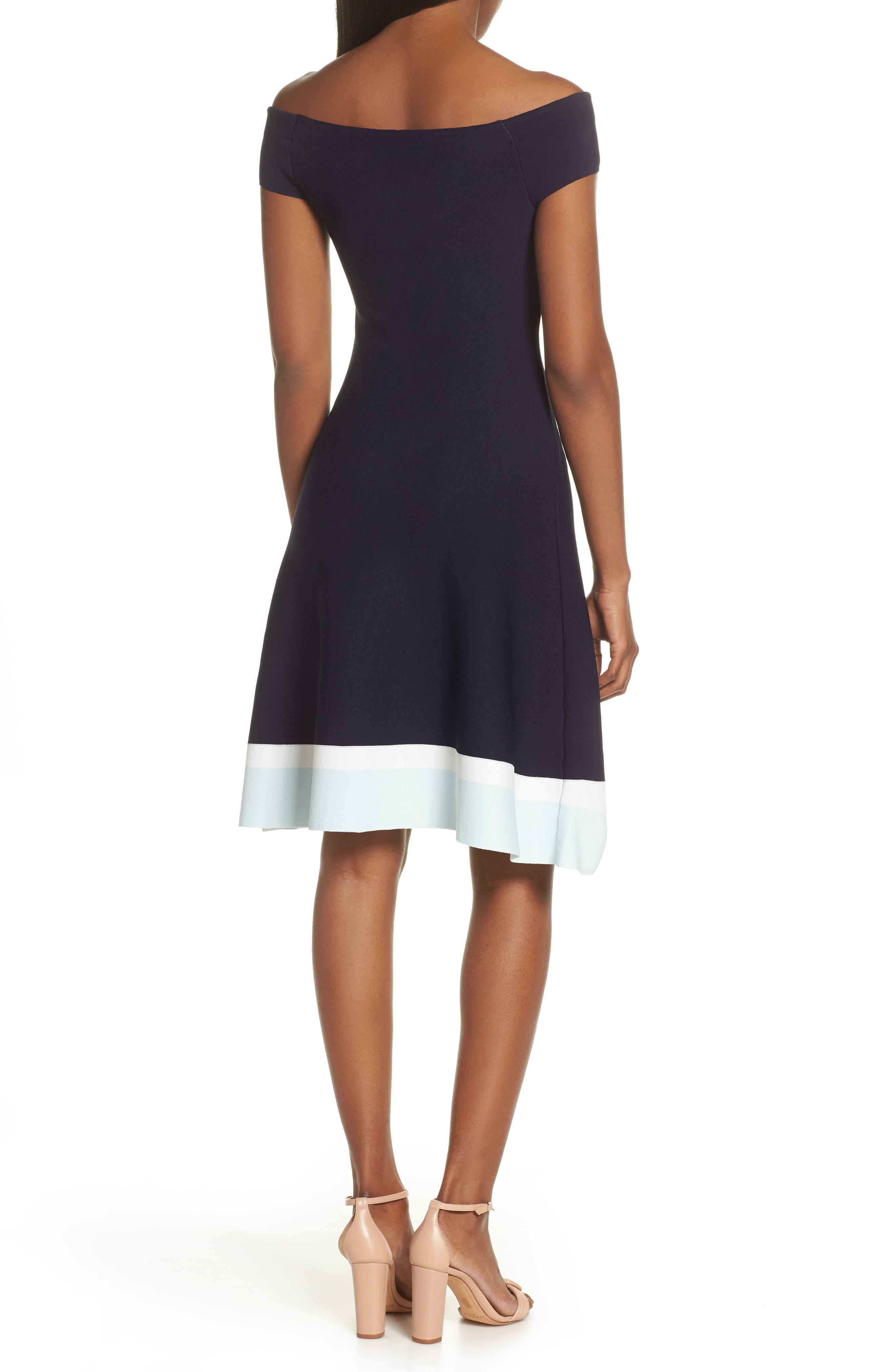 ELIZA J,                             Fit & Flare Knit Dress,                             Alternate thumbnail 2, color,                             BABY BLUE MULTI