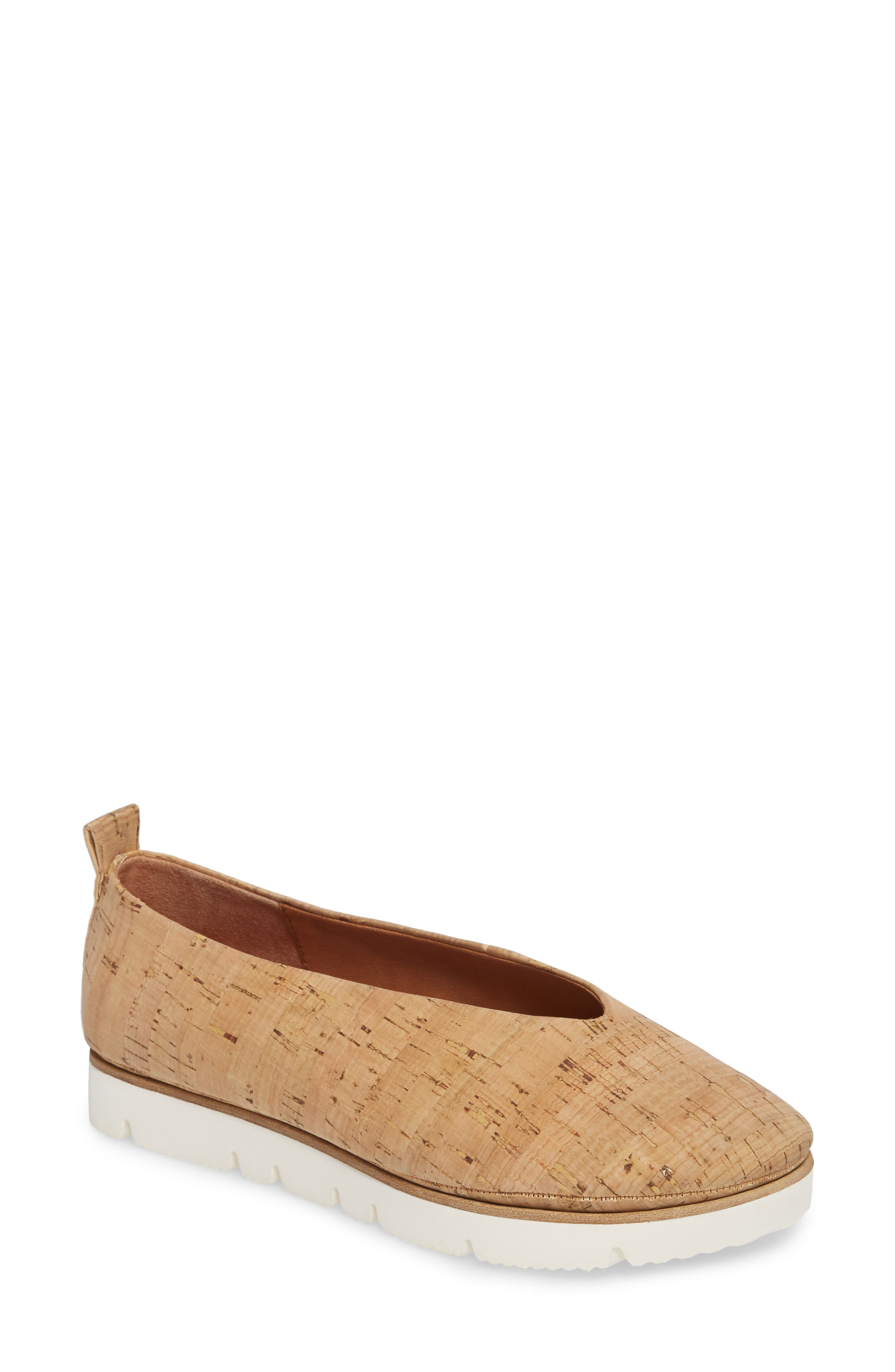 Demi Flat,                             Main thumbnail 1, color,                             NATURAL LEATHER