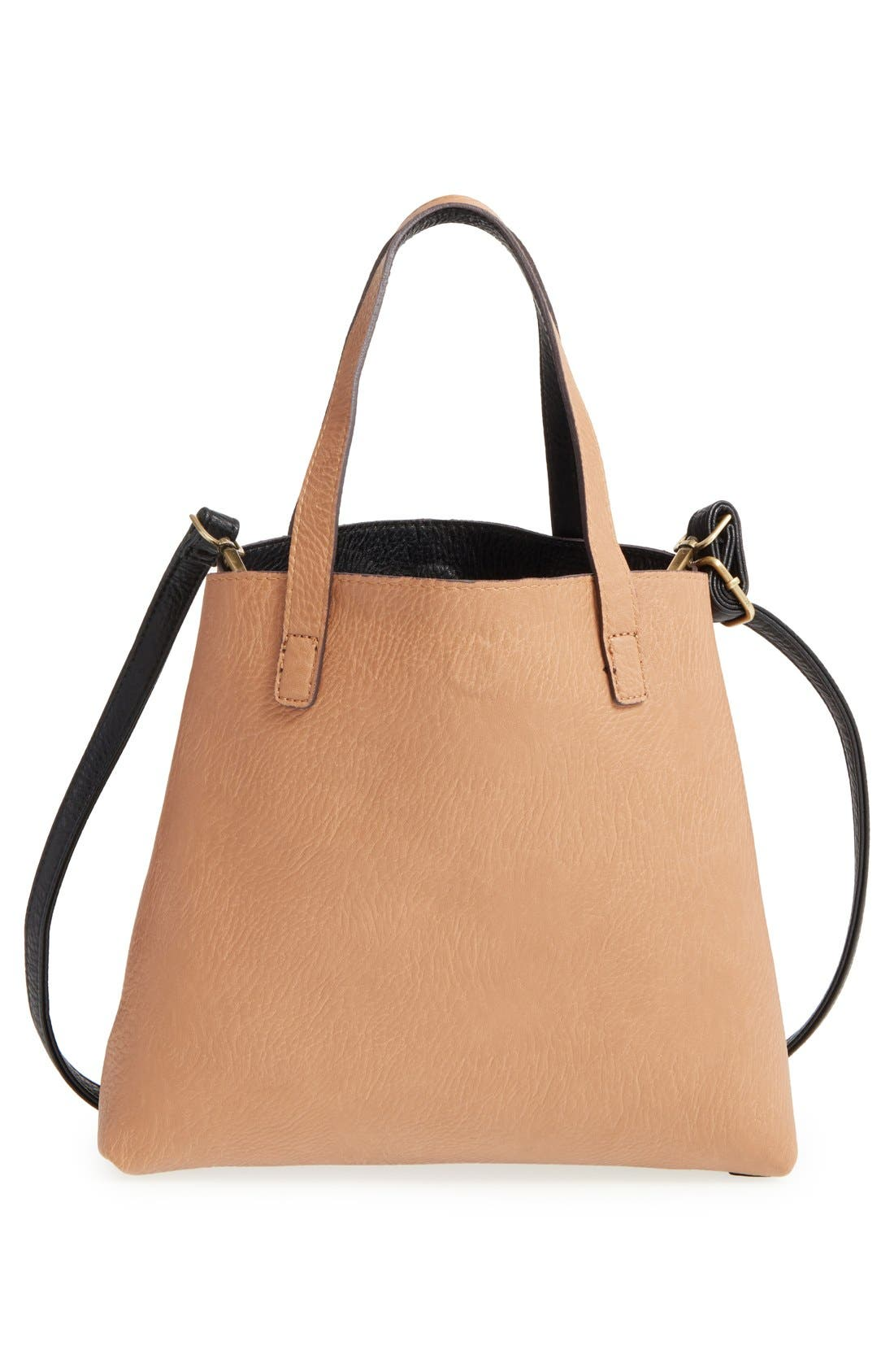 Reversible Faux Leather Tote,                             Alternate thumbnail 5, color,                             001