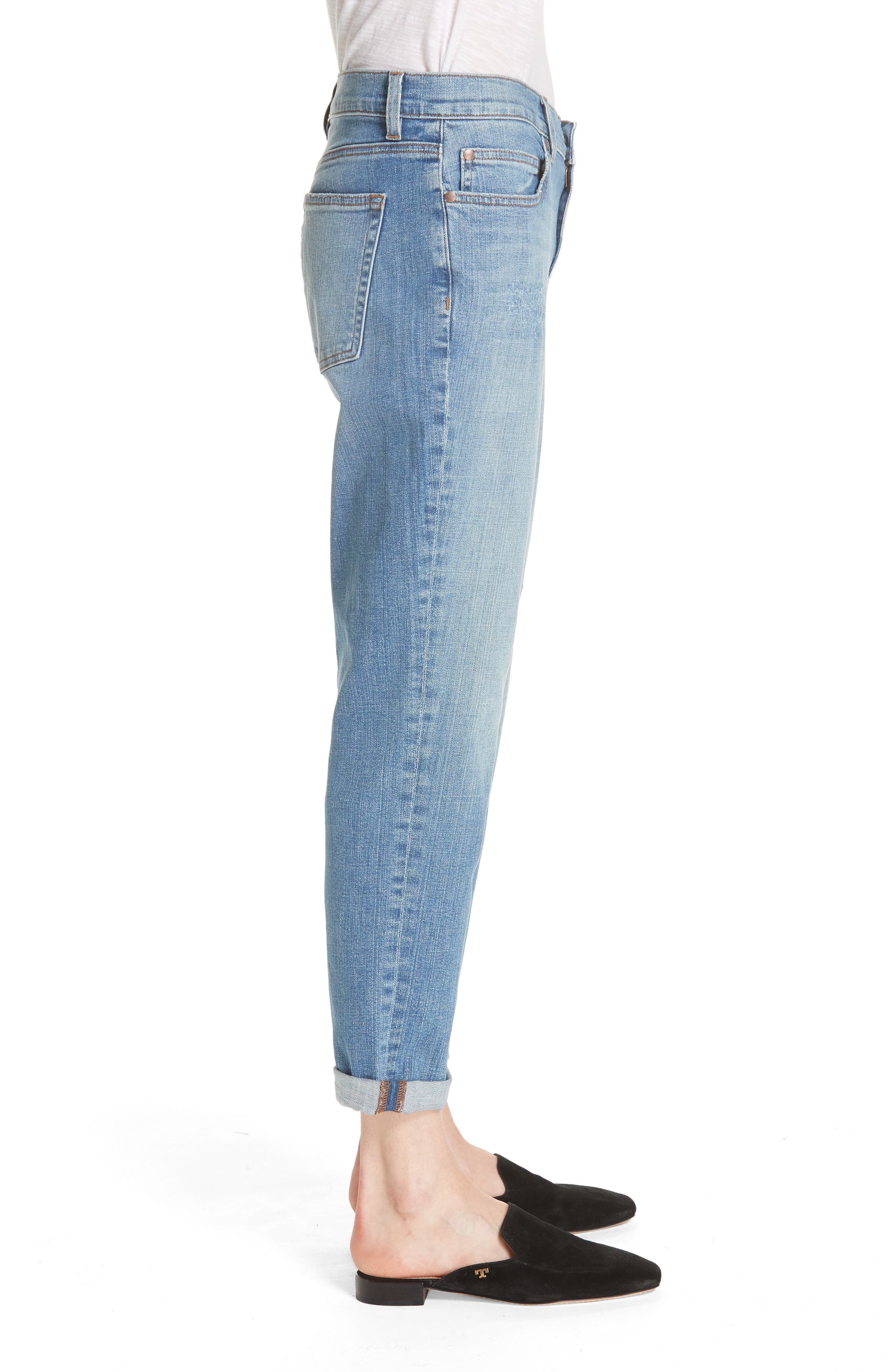 Stretch Organic Cotton Boyfriend Jeans,                             Alternate thumbnail 3, color,                             ABRADED SKY BLUE